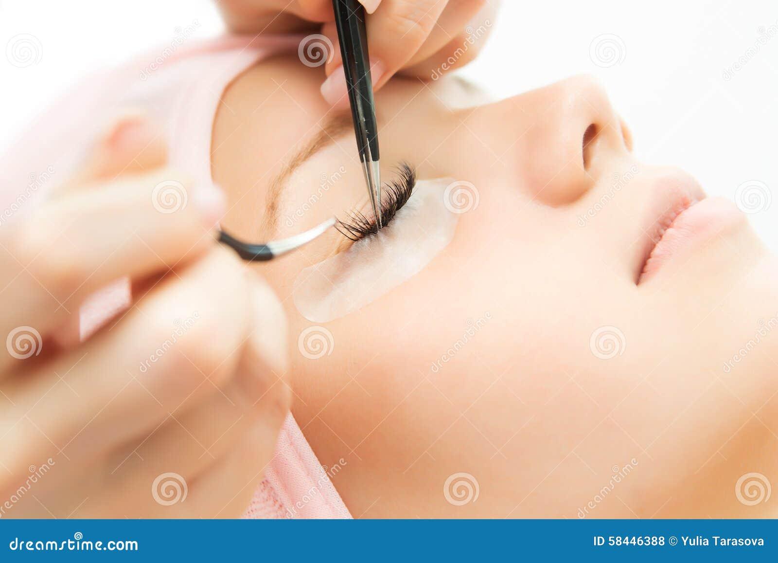 Download Eyelash Extension Procedure. Woman Eye With Long Eyelashes. Stock Photo - Image of extension, false: 58446388