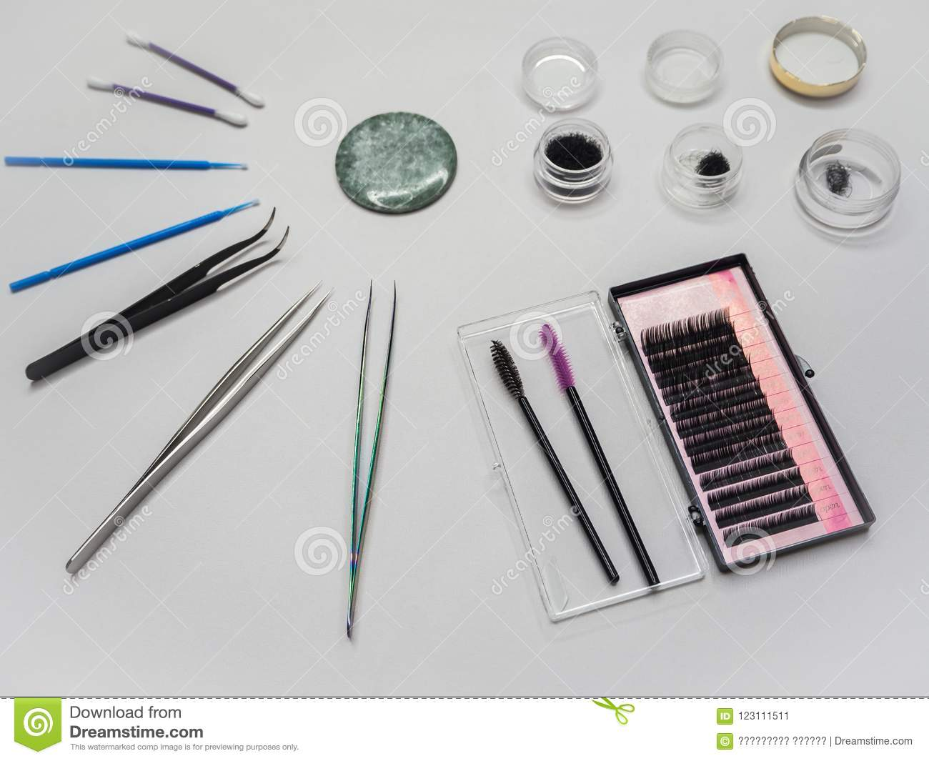 The Eyelash Extension Tools Are Laid Out On The Table Stock Image