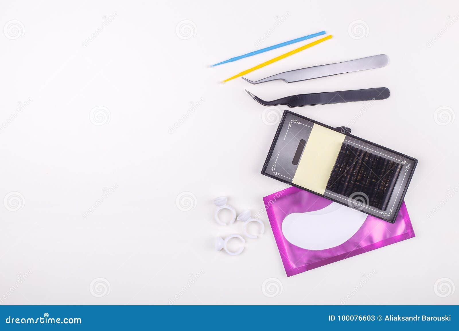 Eyelash Extension Tools On White Background Accessories For Eyelash