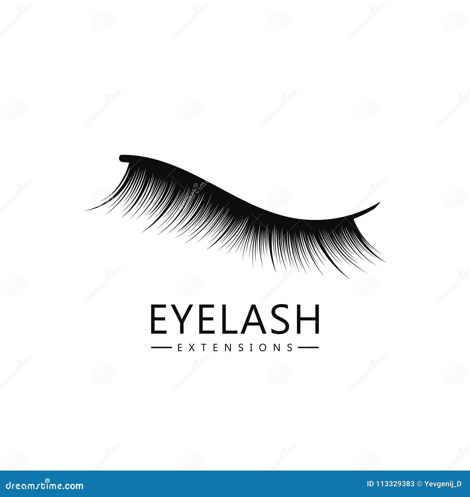 62a26b71cb9 Eyelash logo template, Eyelash extension concept. Lush black lashes on  white background for makeup