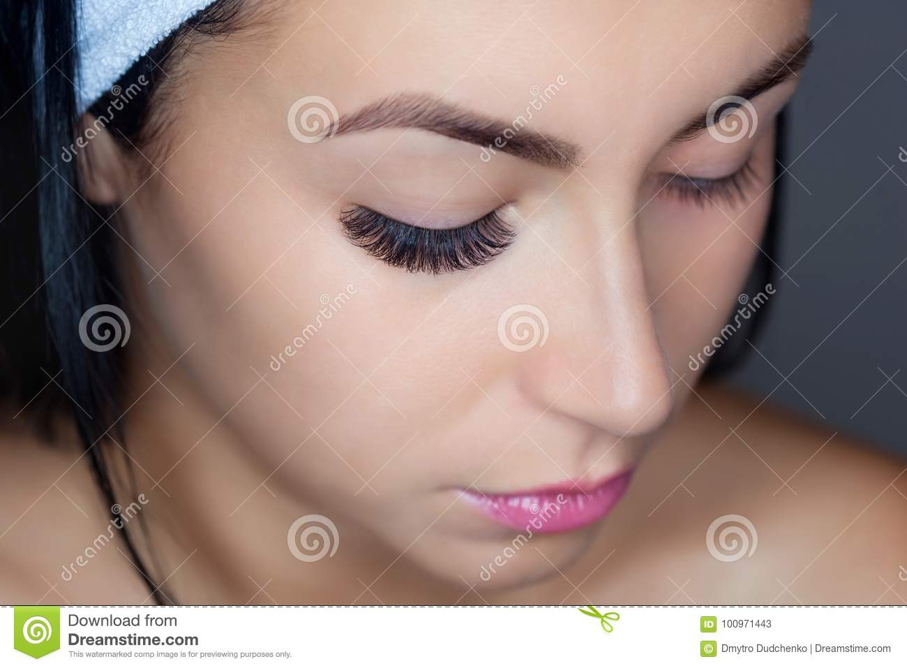 Eyelash Removal Procedure Close Up Beautiful Woman With Long Lashes