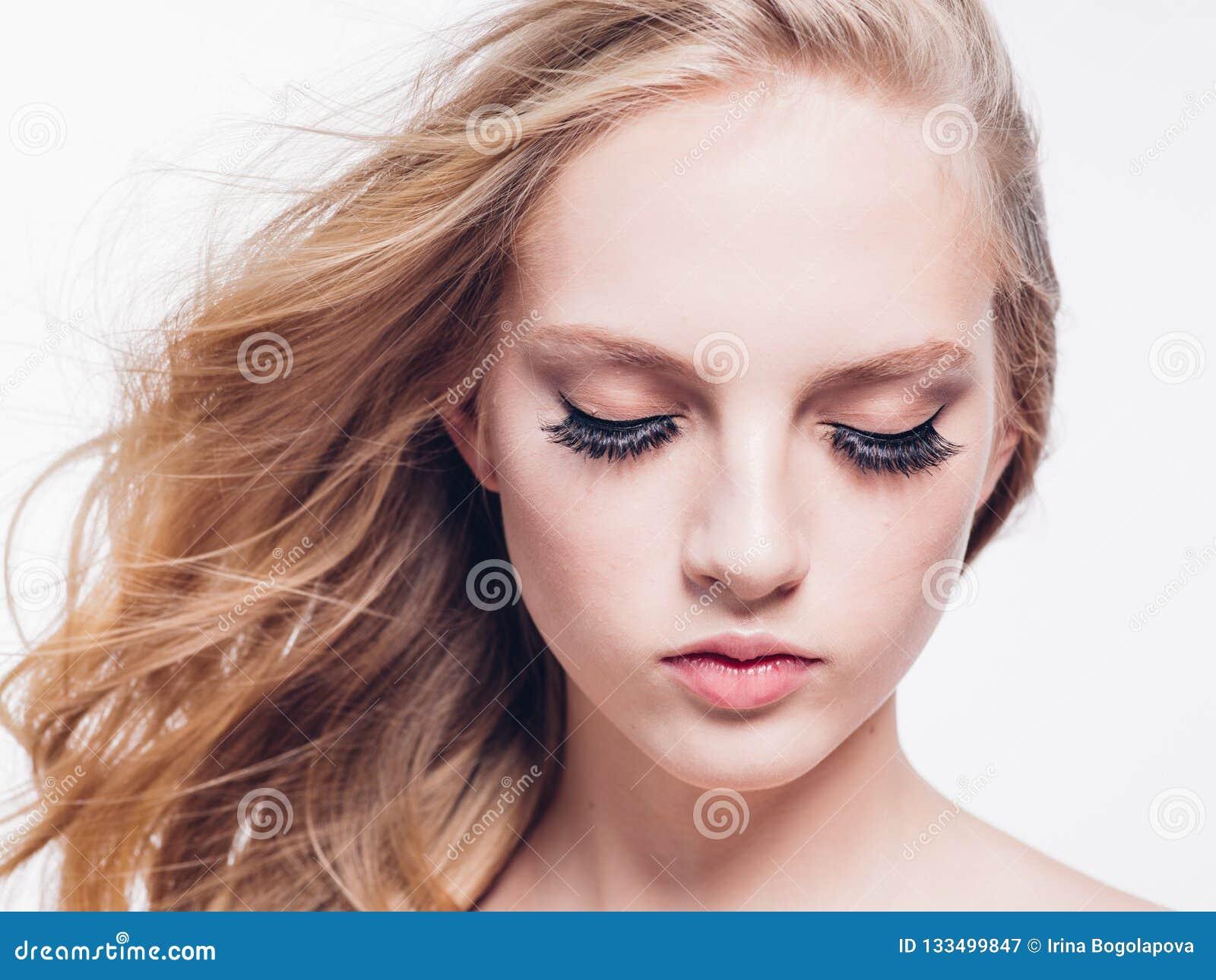 Eyelashes woman eyes face close up with beautiful long lashes is