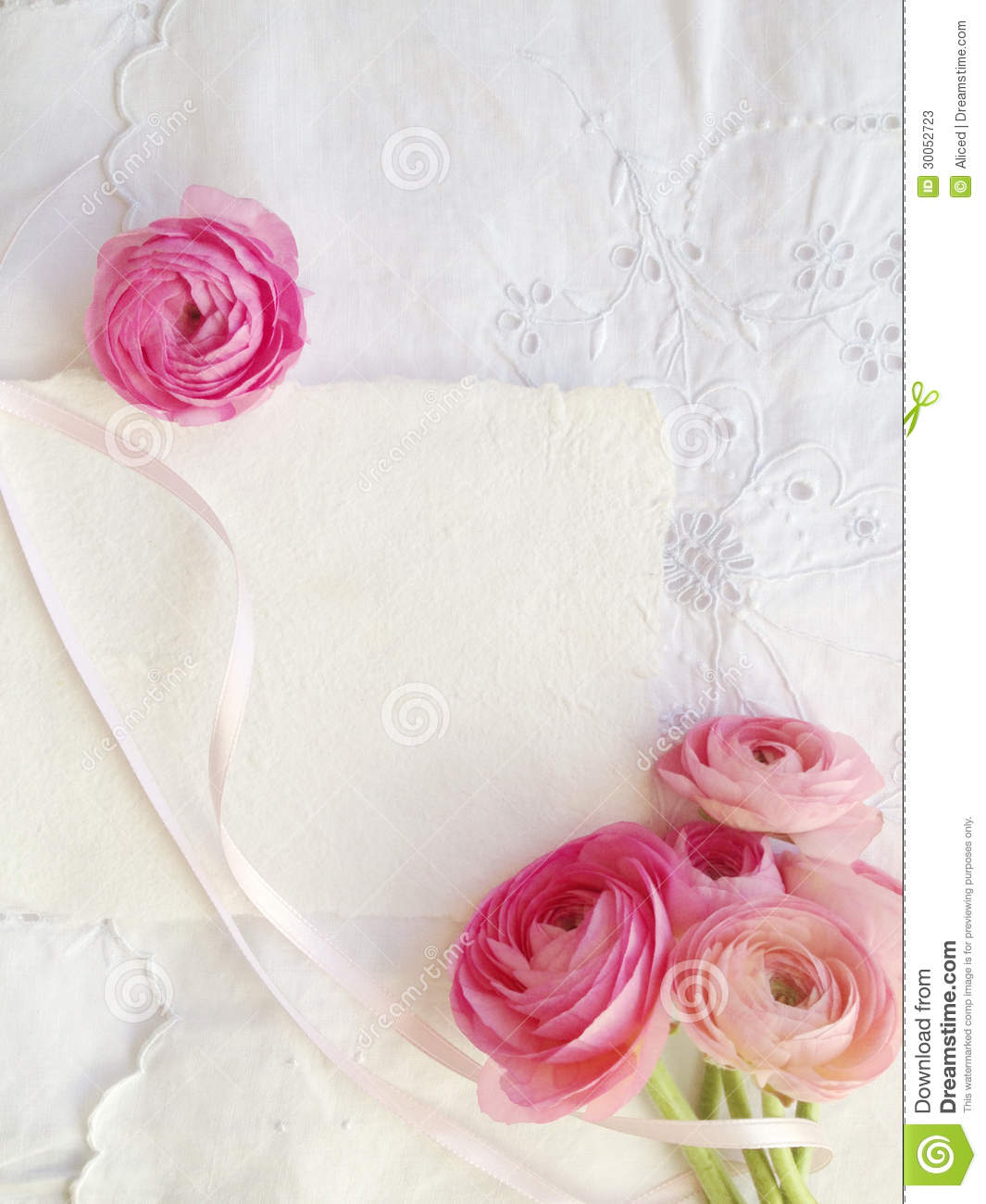 Decorative Fabric With Pink Ranunculus And Copy Space Stock Image