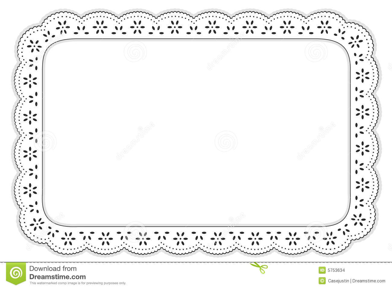 Eyelet Lace Place Mat Black And White Stock Vector