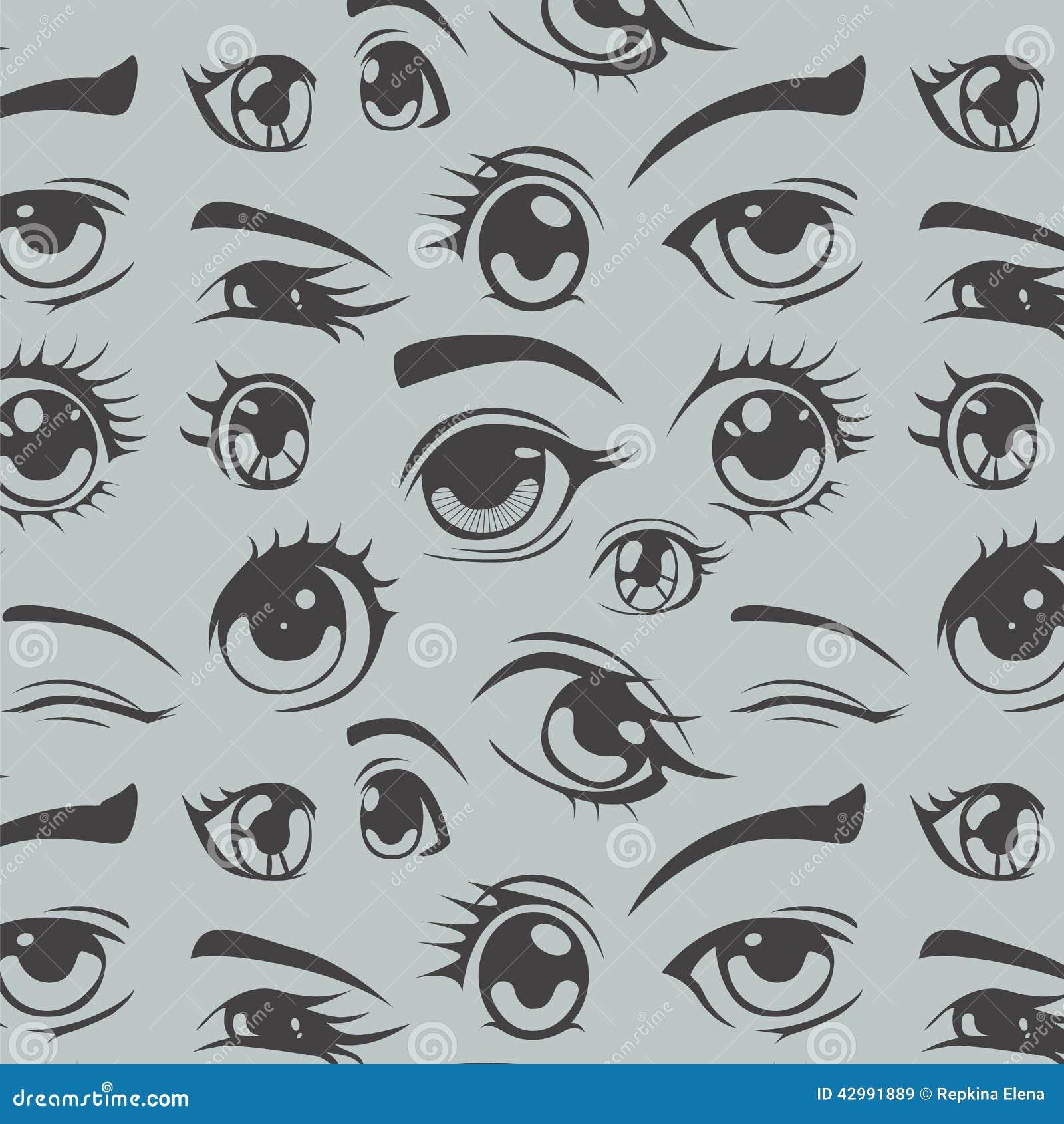 Eyes Of Anime Seamless Pattern