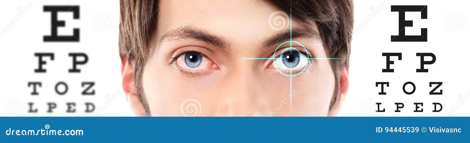 Eyes Close Up On Visual Test Chart Eyesight And Eye Examination