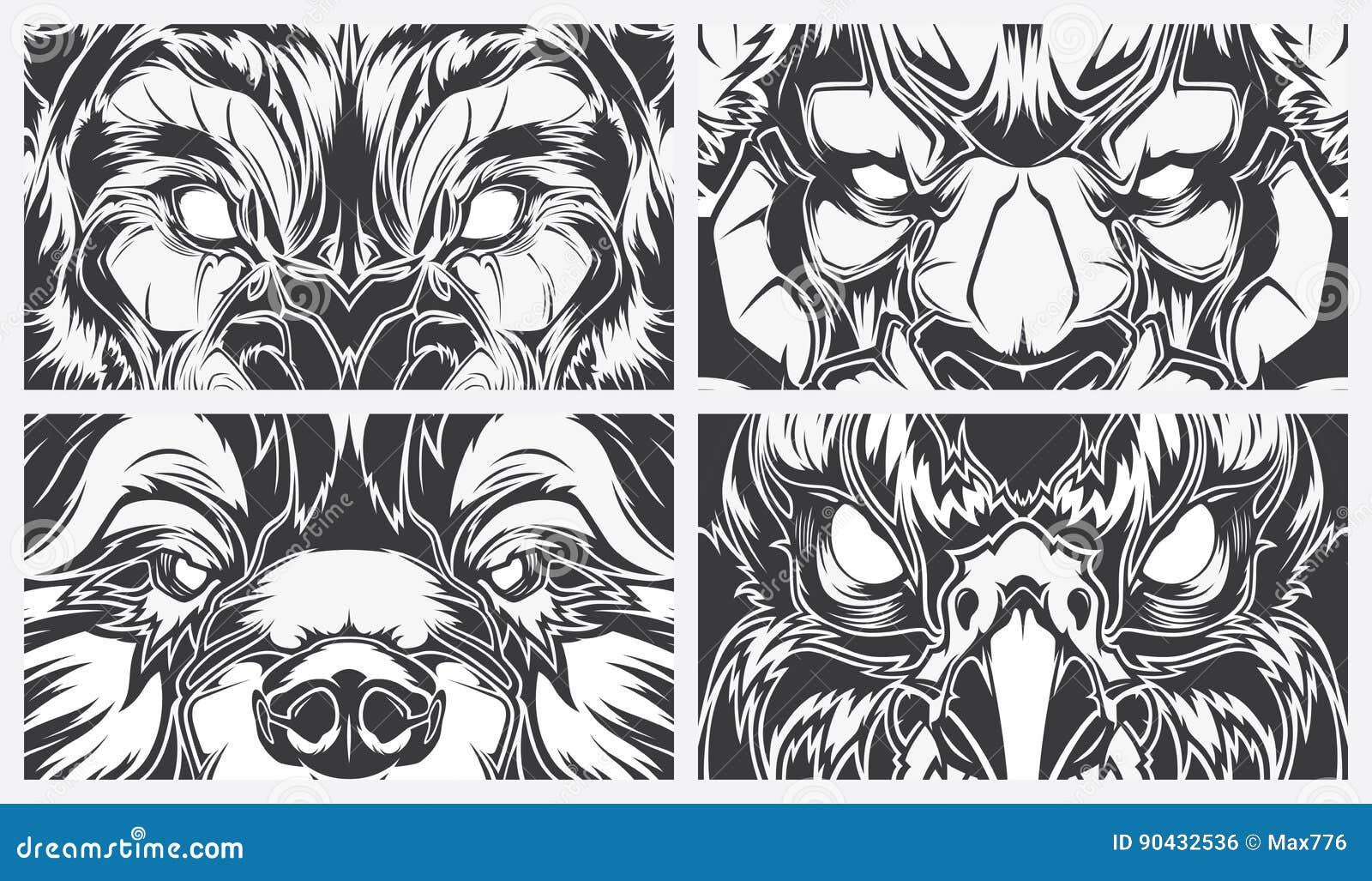 Line Art Animals Tattoo : Eyes dangerous animals tattoo style vector background stock