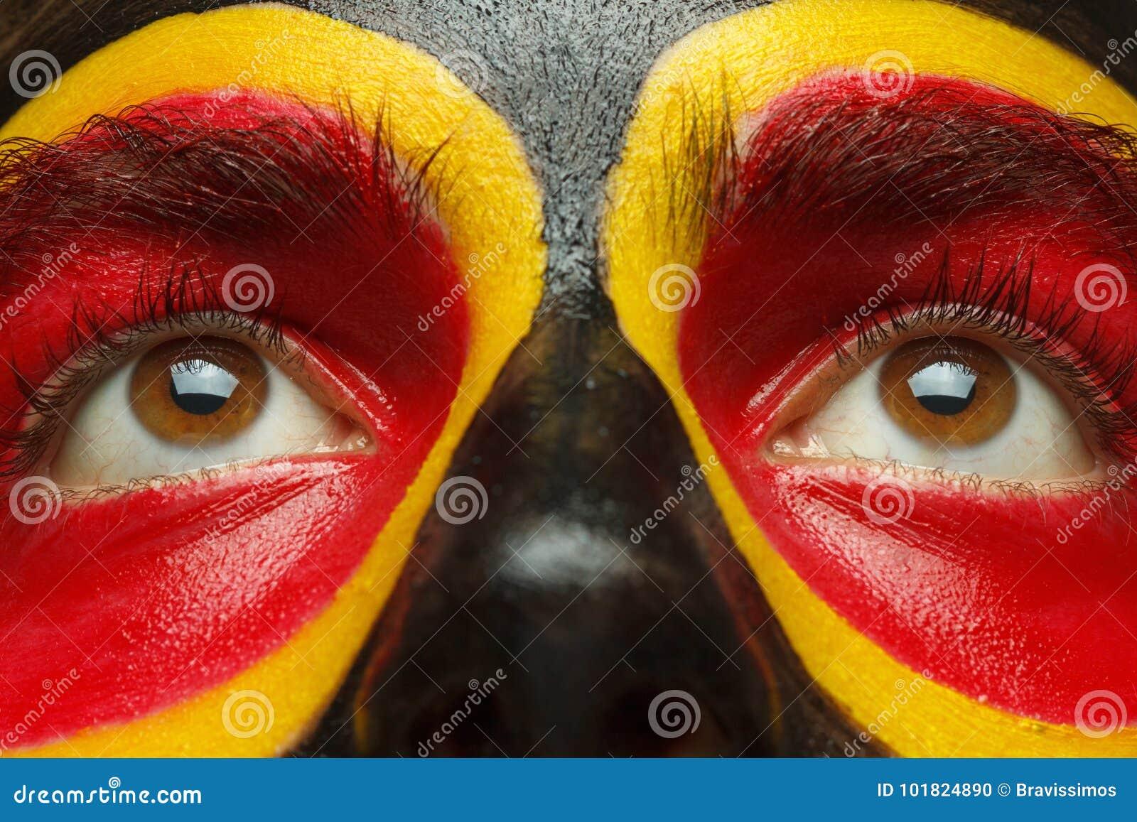 Eyes Of German Or Belgian Sports Fan Patriot. Painted ...