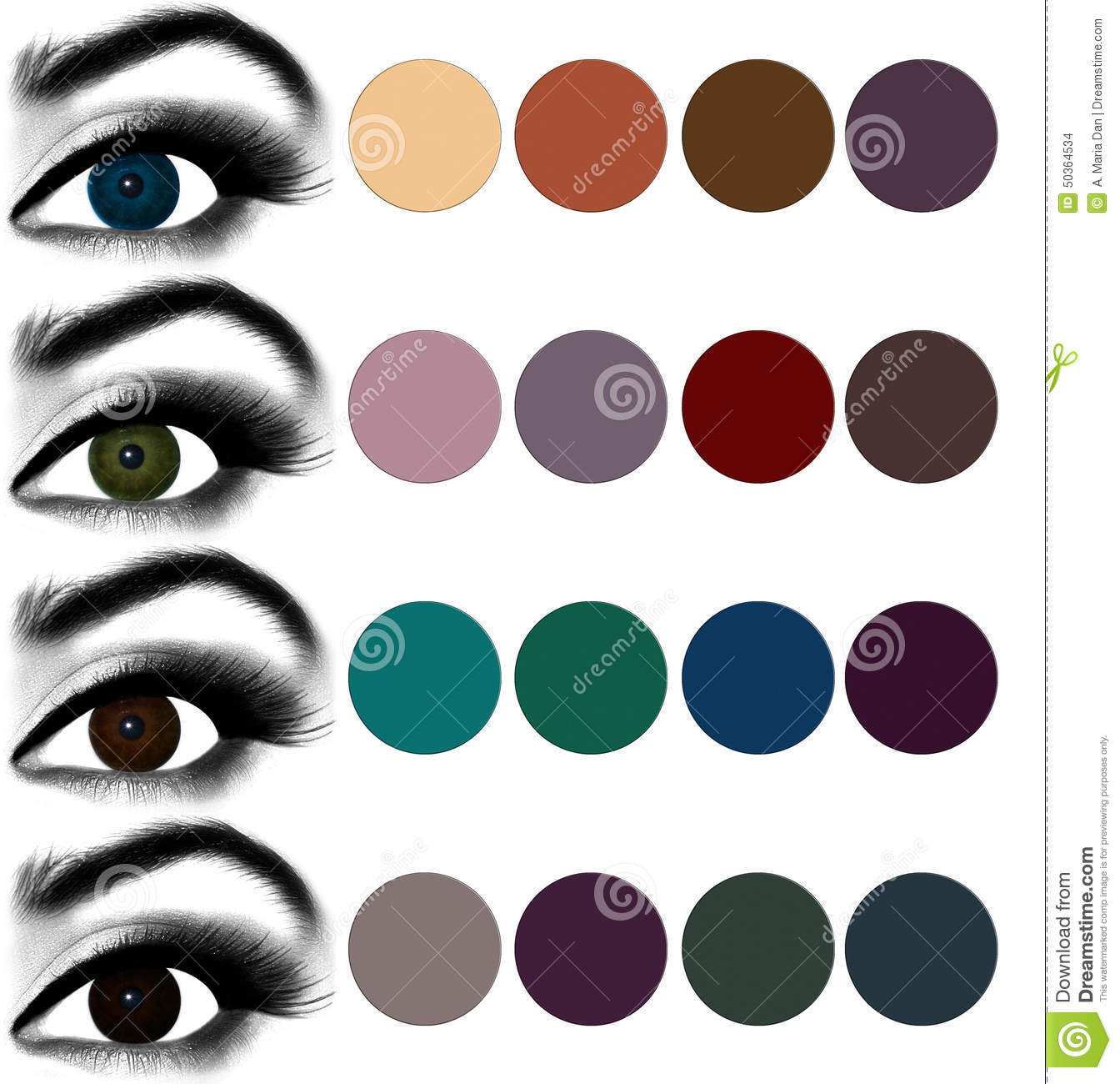 eyes makeup.matching eyeshadow to eye color. stock photo - image of