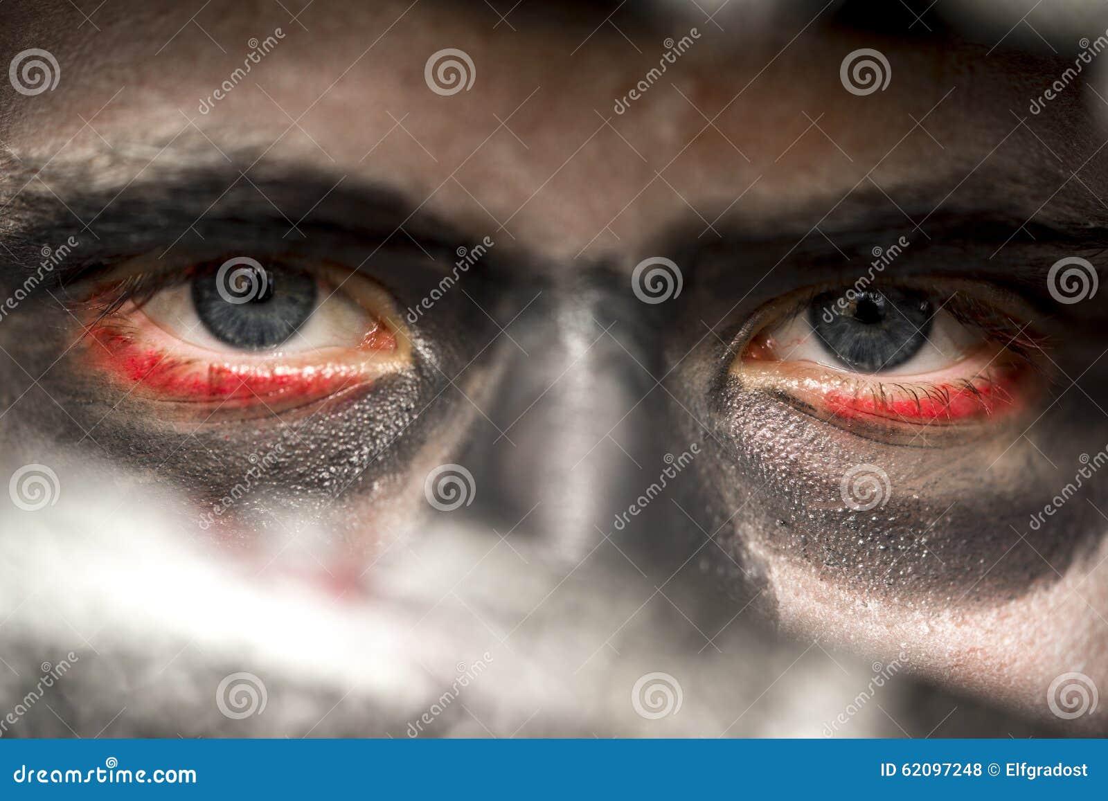 Eyes Of A Man Wearing Skull Makeup Stock Photo Image Of Creepy