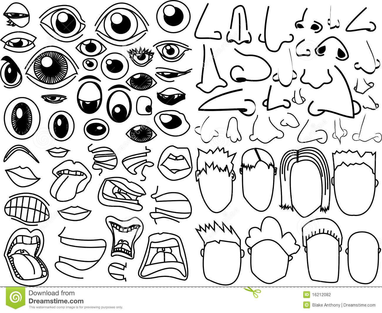eyes noses mouths faces stock stock vector illustration of gums