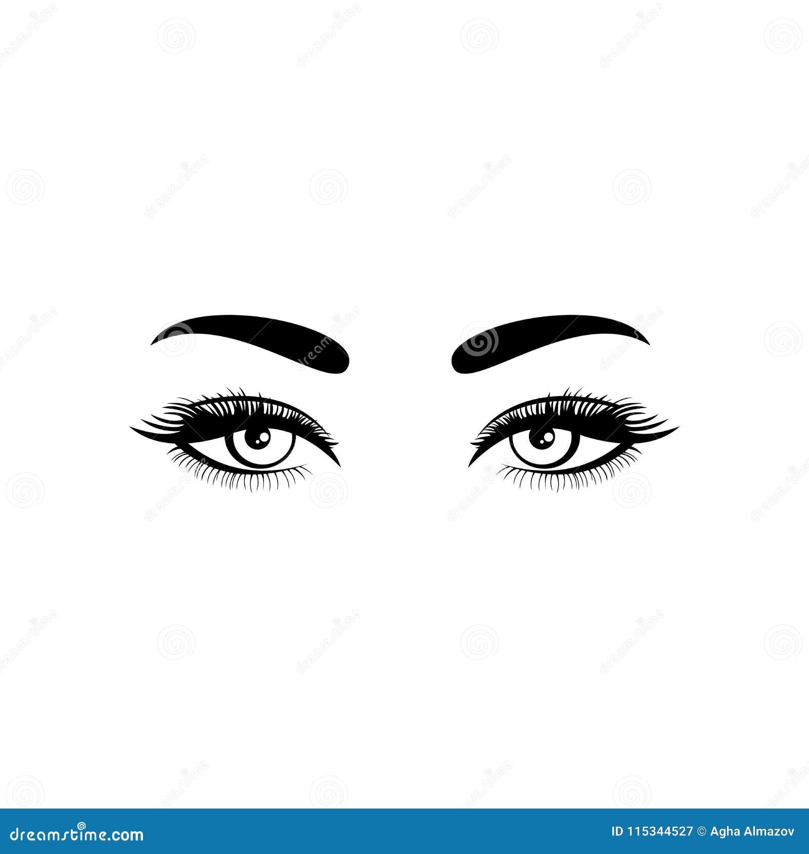Eyes o ícone Eyes o símbolo Projeto liso Estoque - ilustração do vetor