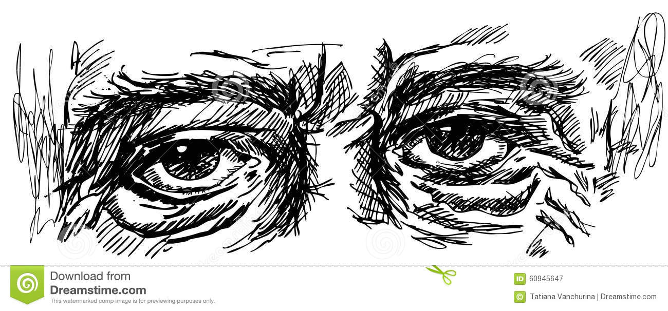 Eyes Of Old Man With Wrinkles Stock Vector Illustration Of Drawing