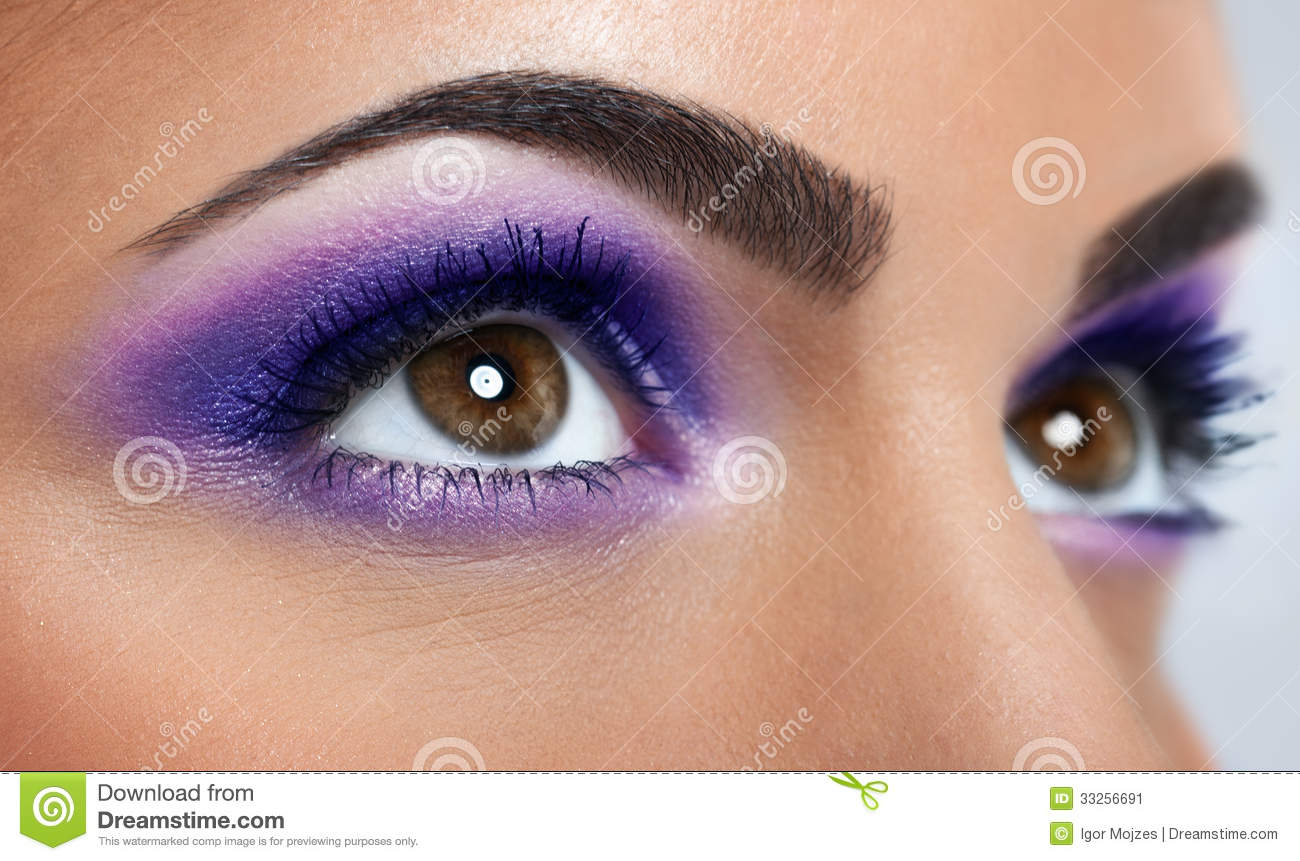 Eyes with purple makeup