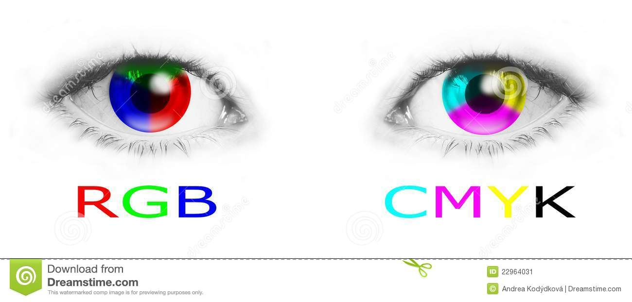 Cmyk and rgb color wheels in human eyes - bitmap illustration.