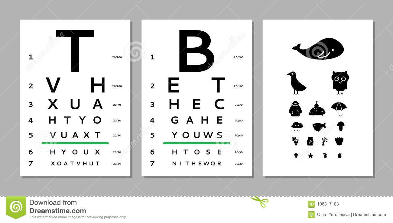 Eyes Test Chart Stock Vector  Illustration Of Eyeglass