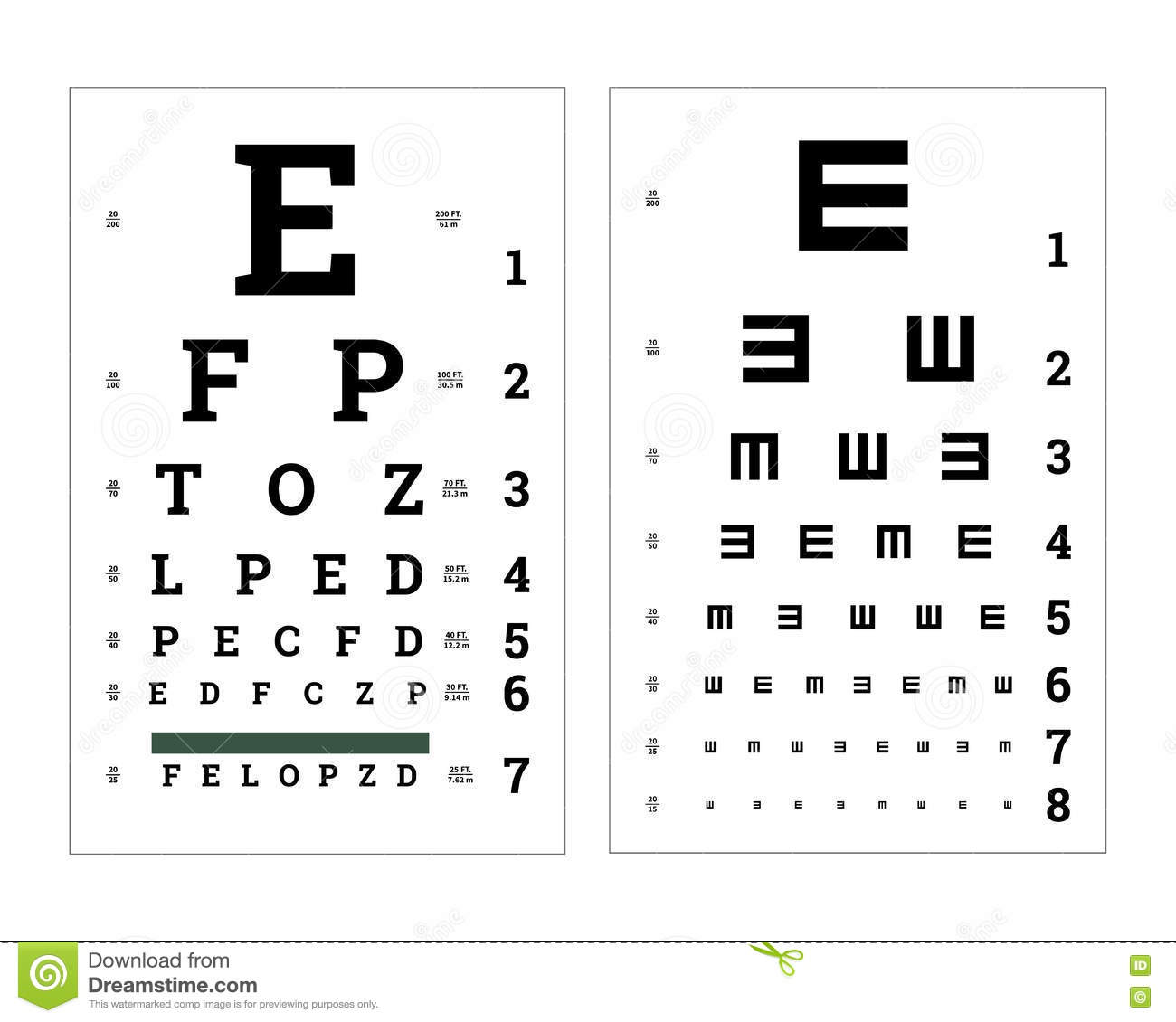 Eyes Test Charts With Latin Letters. Medical Posters On ...