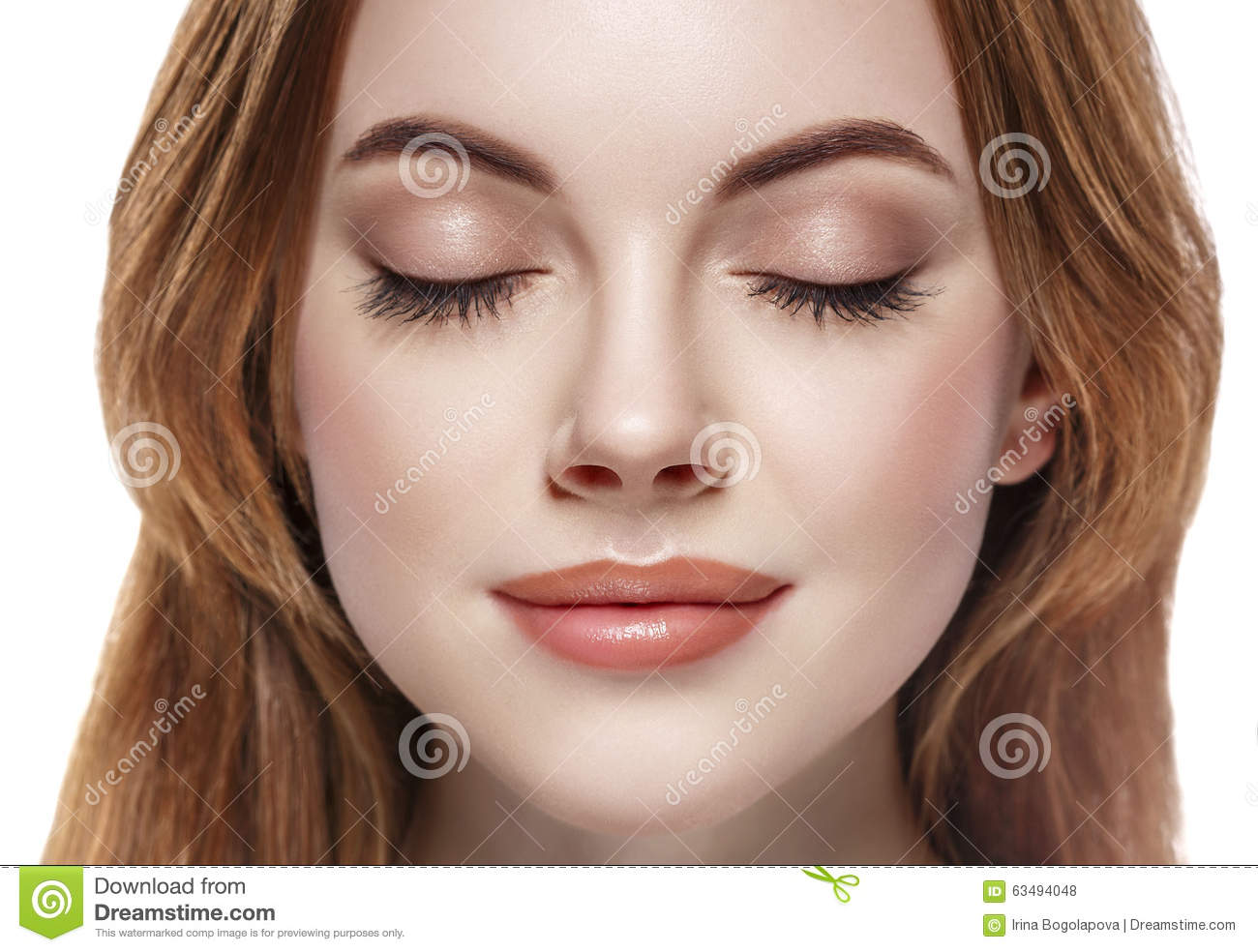 Eyes woman closed eyebrow lashes face close-up isolated on white