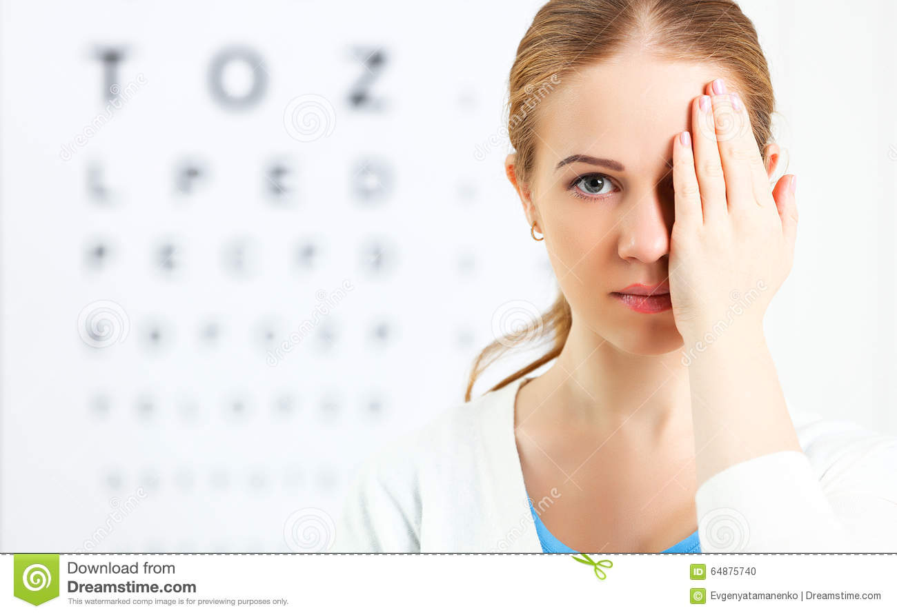 Eyesight Check Woman At Doctor Ophthalmologist Optician Stock Photo