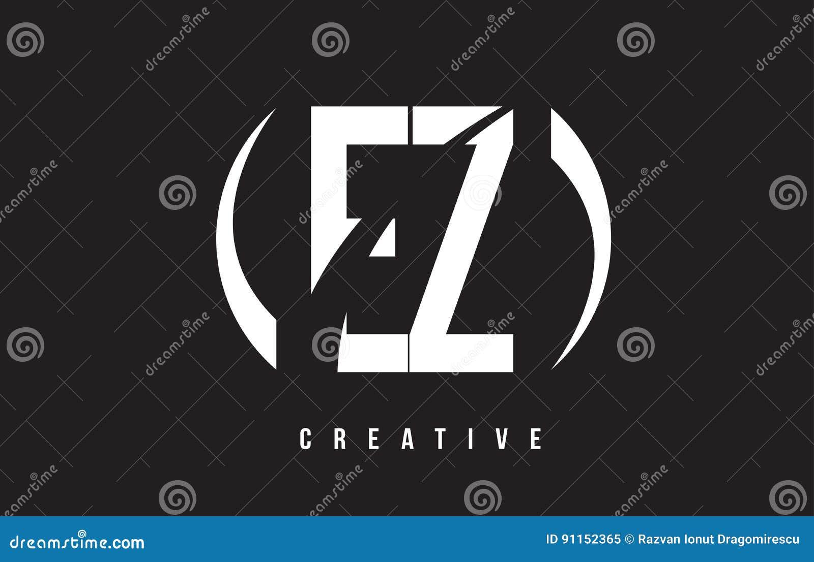 ez e z white letter logo design with black background stock vector