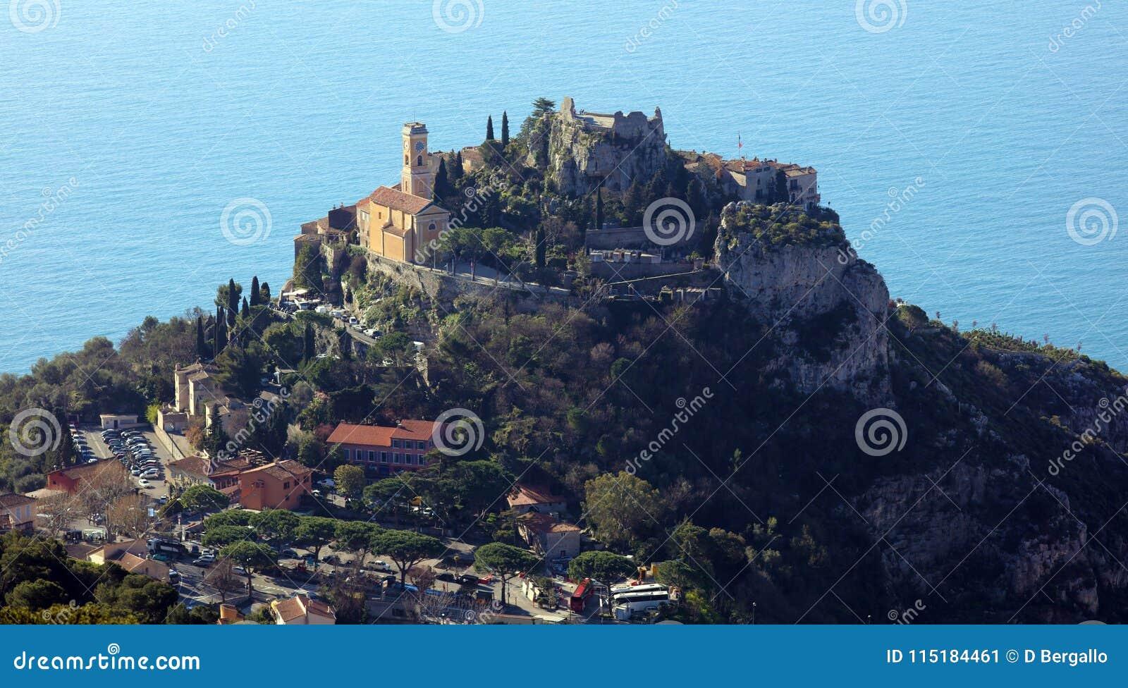 Eze village French riviera, Côte d`Azur, mediterranean coast, Eze, Saint-Tropez, Cannes and Monaco. Blue water and luxury yachts.