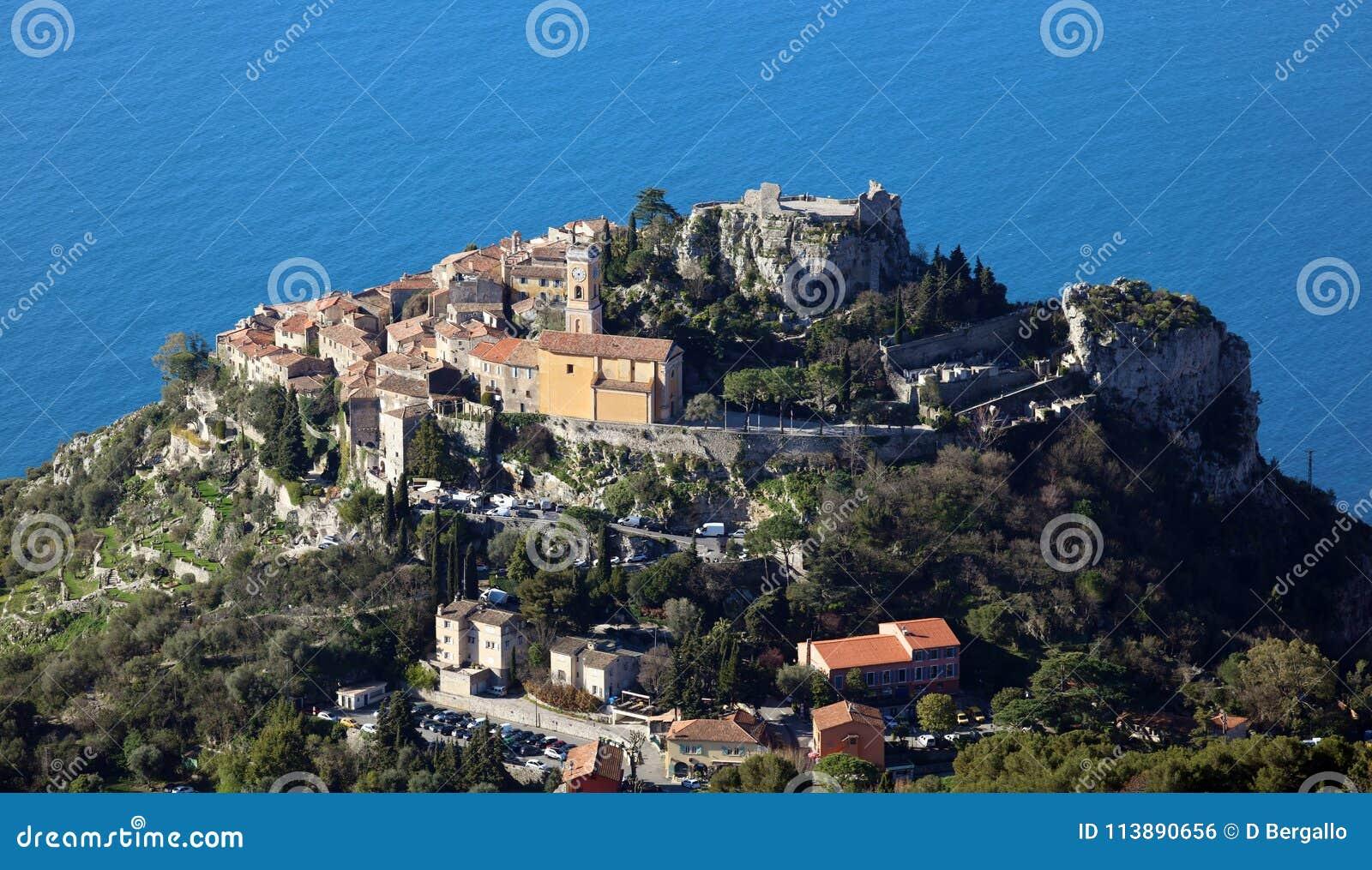 Eze wioska Francuski Riviera, CÃ te d, ` Azur, Eze, Cannes i Monaco, śródziemnomorski wybrzeże, święty, Błękitne wody i luksusu j