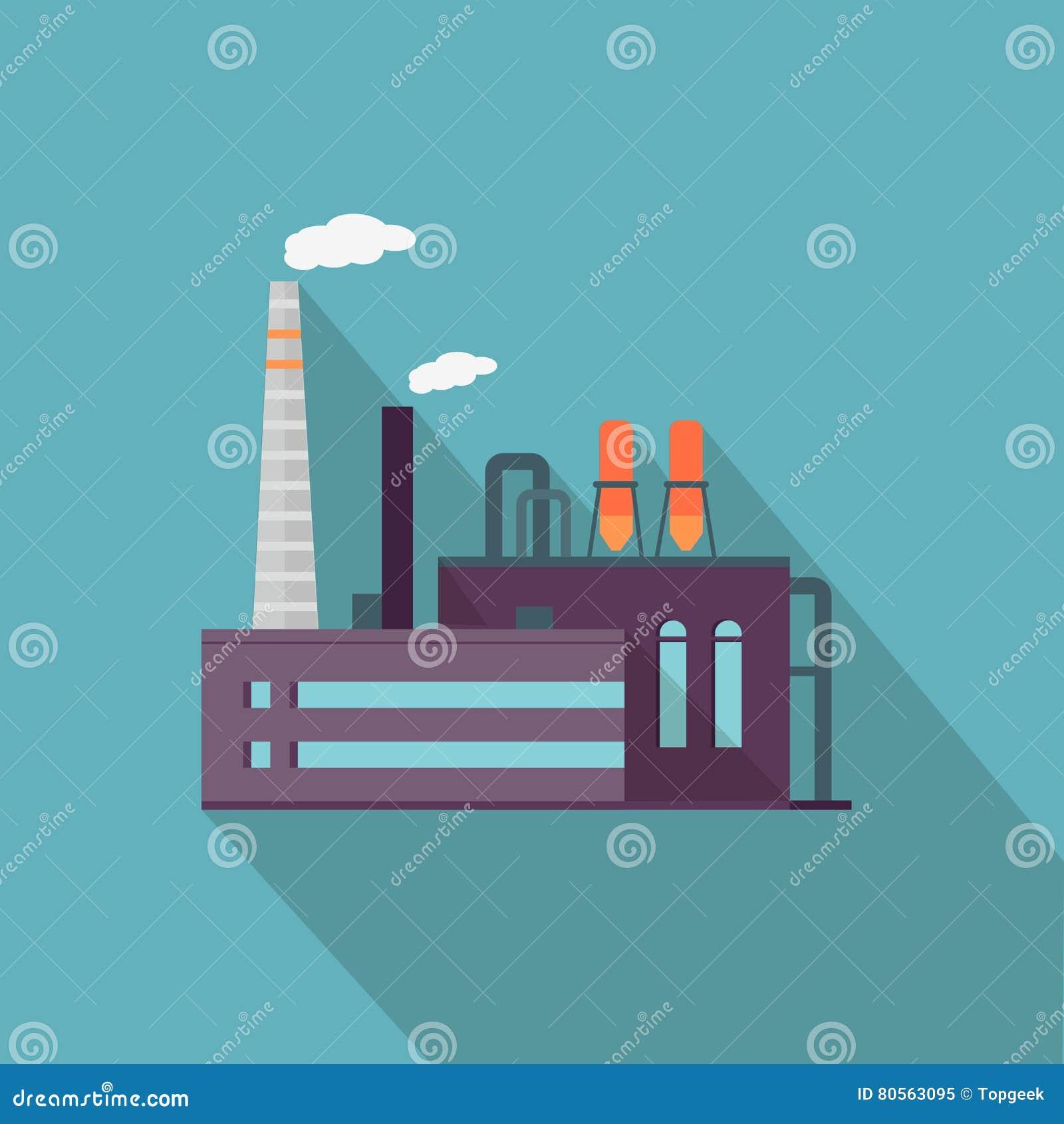 Textile Stock Distributors Mail: Fábrica Con La Sombra Larga En Estilo Plano Fabricante