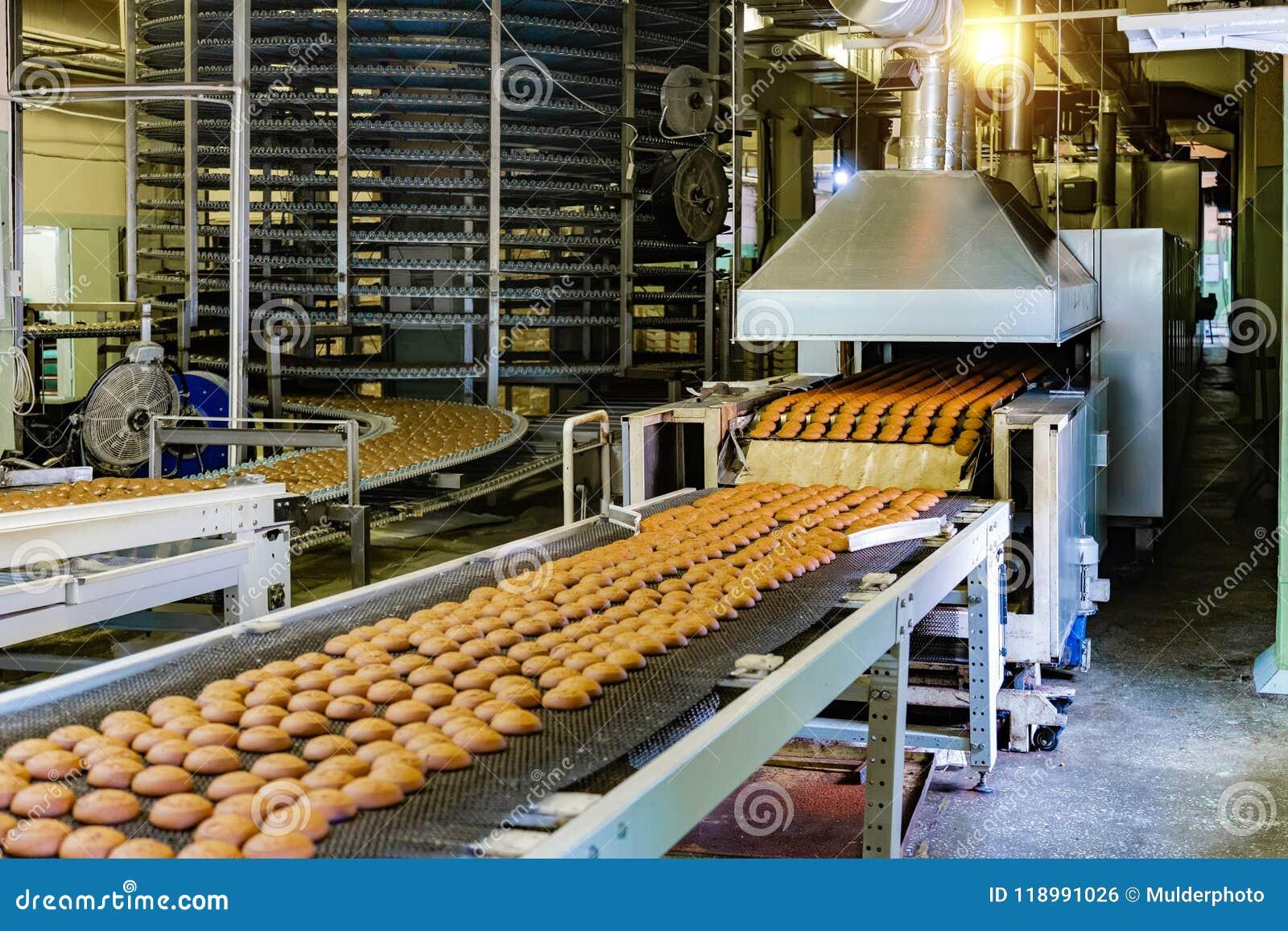 Fábrica de la confitería Cadena de producción de las galletas de la hornada