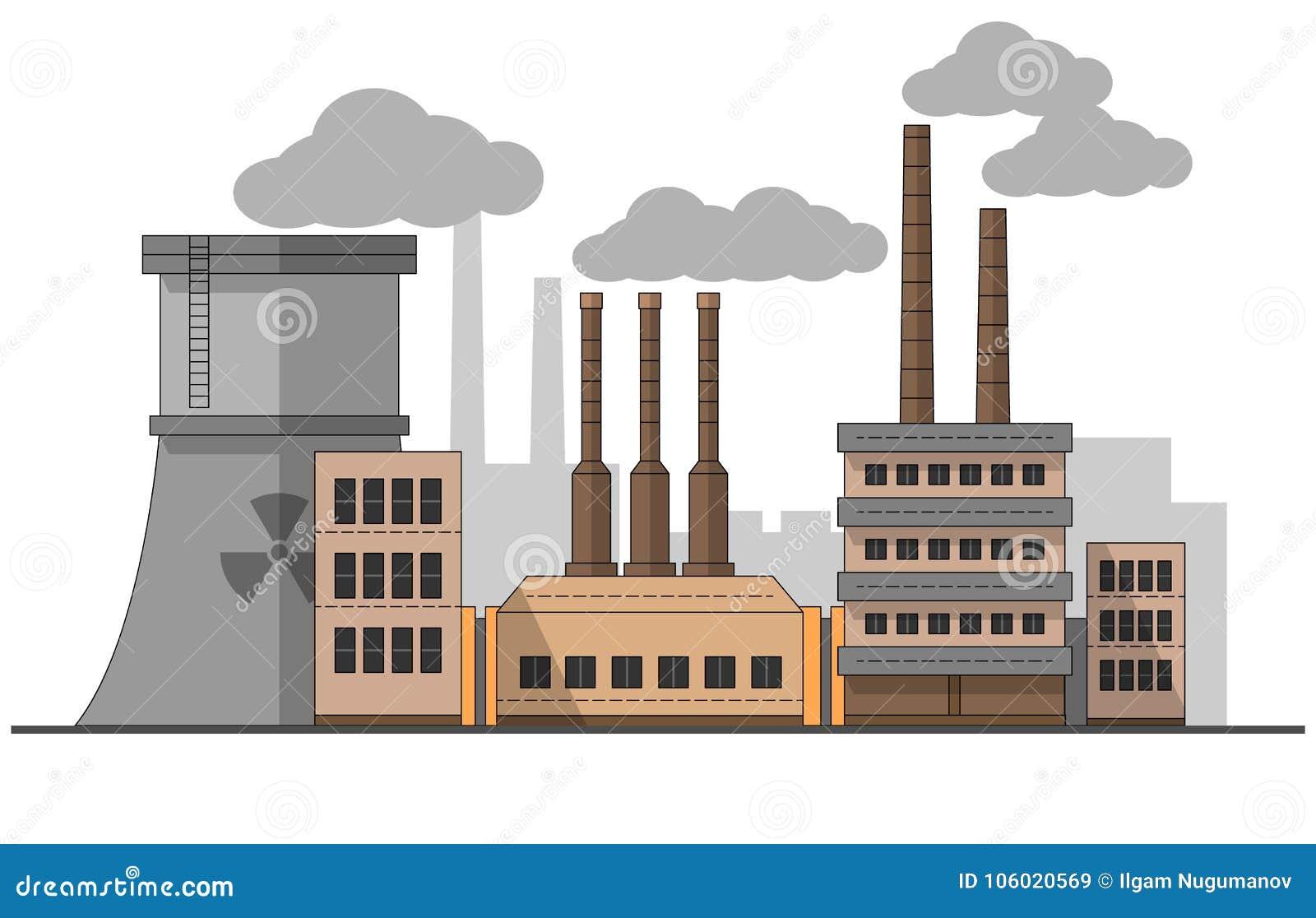 Fábrica industrial com paisagem da estação nuclear Ilustração lisa do vetor Fundo Tubulações com fumo Pintura editable