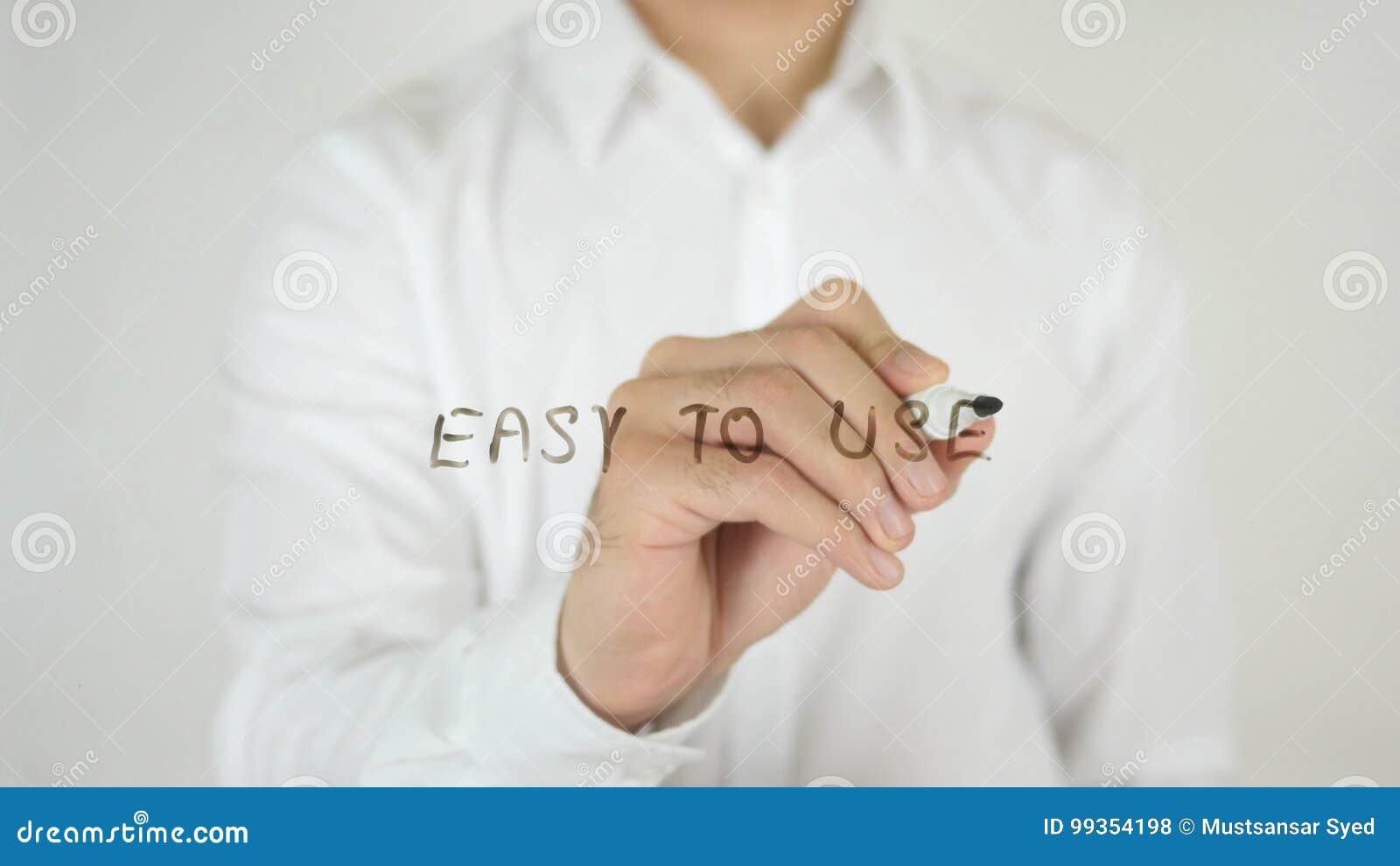 Fácil de utilizar, escrito en el vidrio