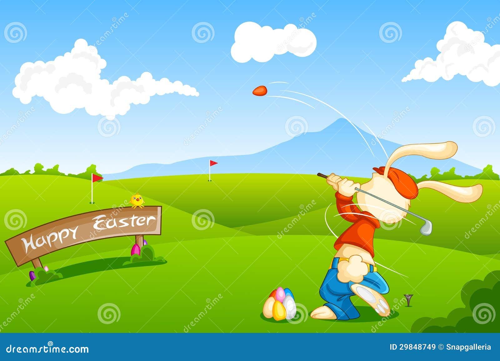 Coelho que joga o golfe com ovo da páscoa