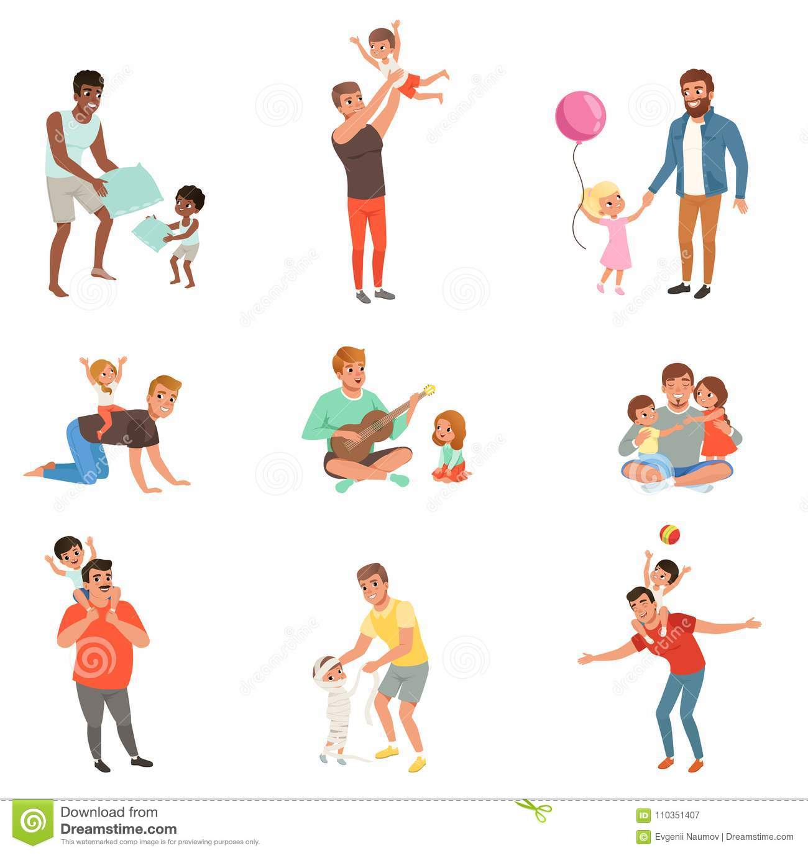 Fäder som tillsammans spelar, har gyckel och tycker om tid för bra kvalitet med deras uppsättning för små barn av vektorn