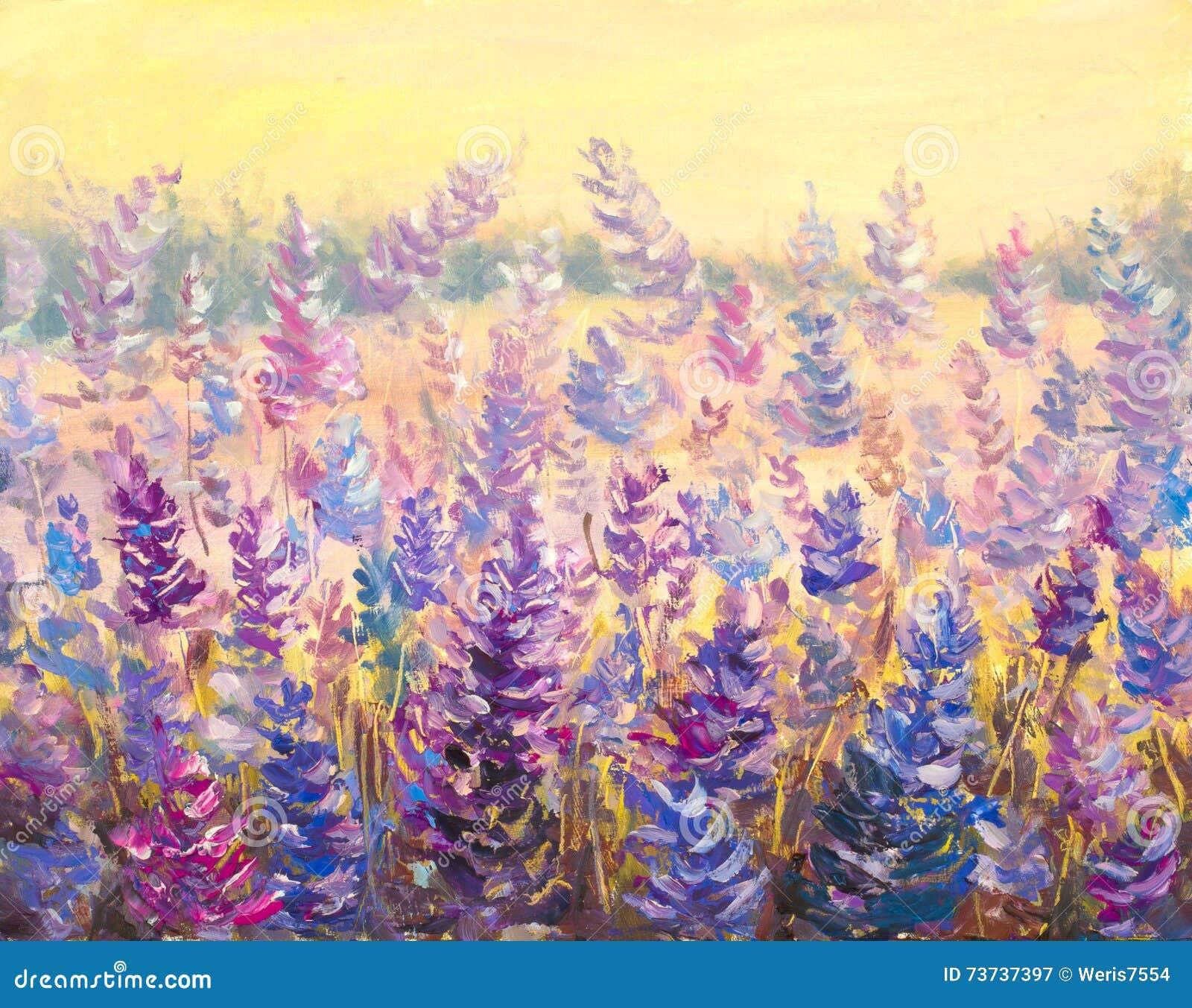 Fält av delikat blommalavendel Blått-lilan blommar i sommarmålningkonstverk