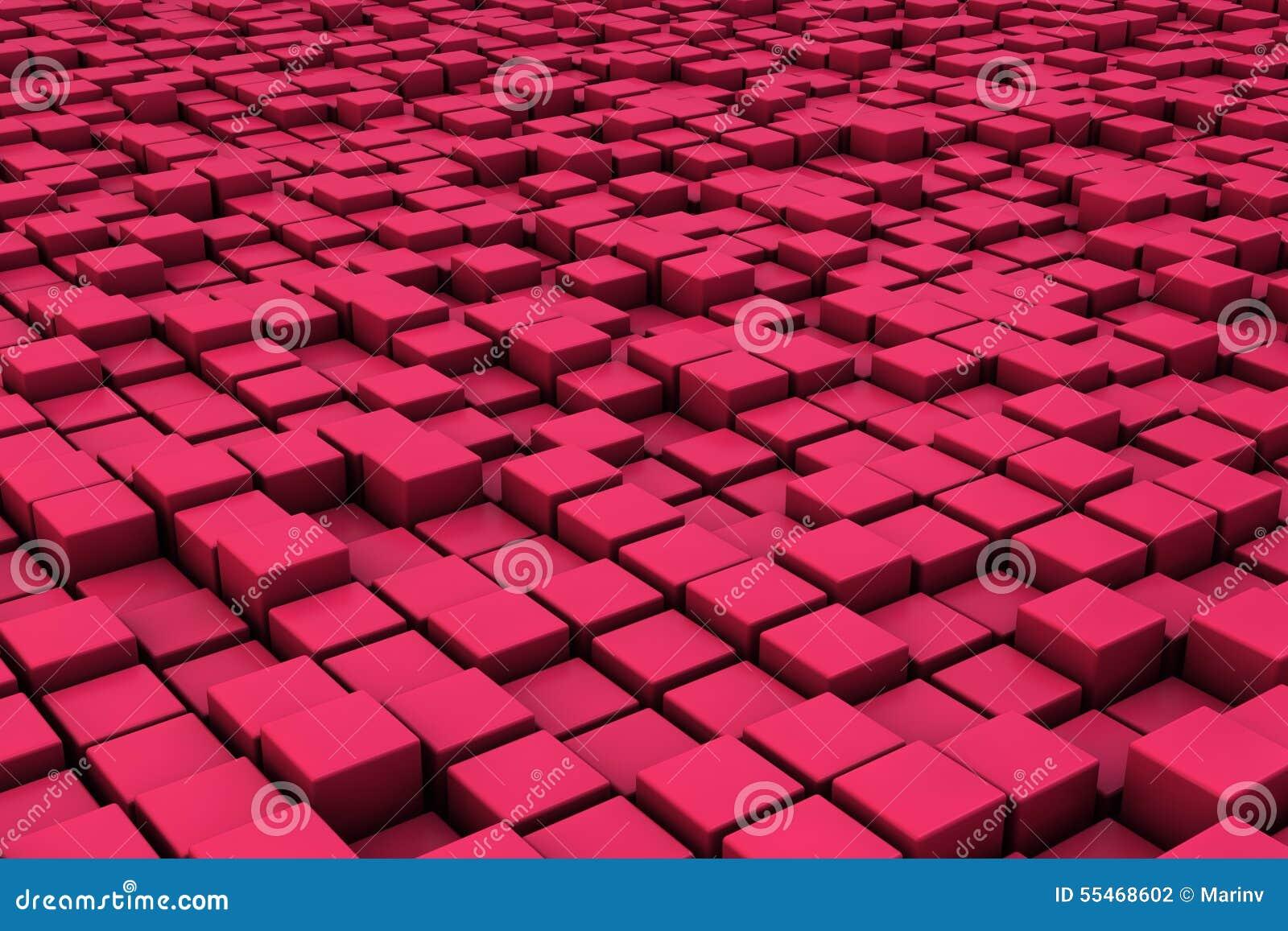 Fält av röda kuber 3d 3d framför image