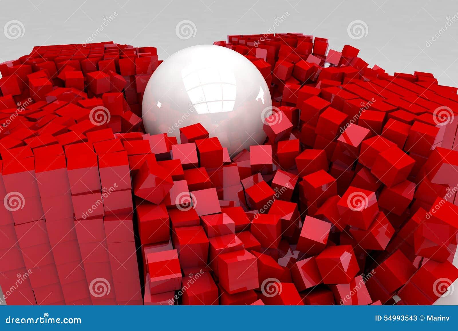 Fält av röda kuber som förstörs av den stora vita bollen