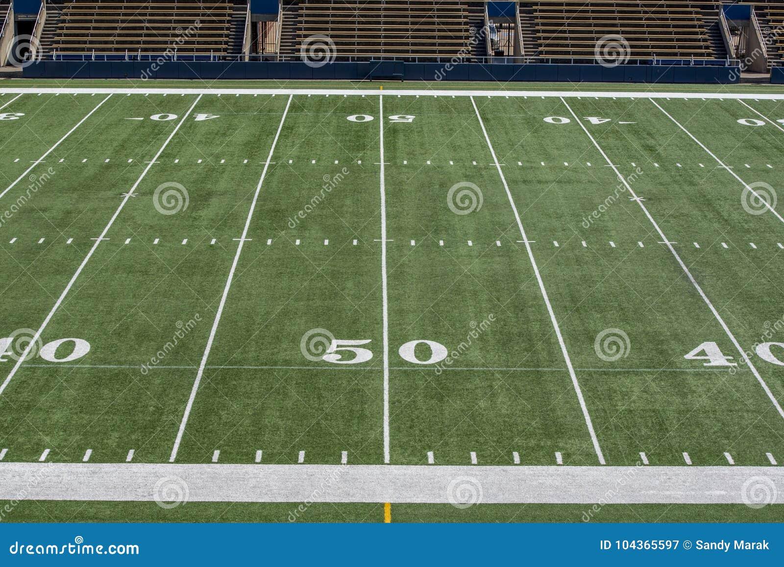 Fält för amerikansk fotboll med linjen för gård 50