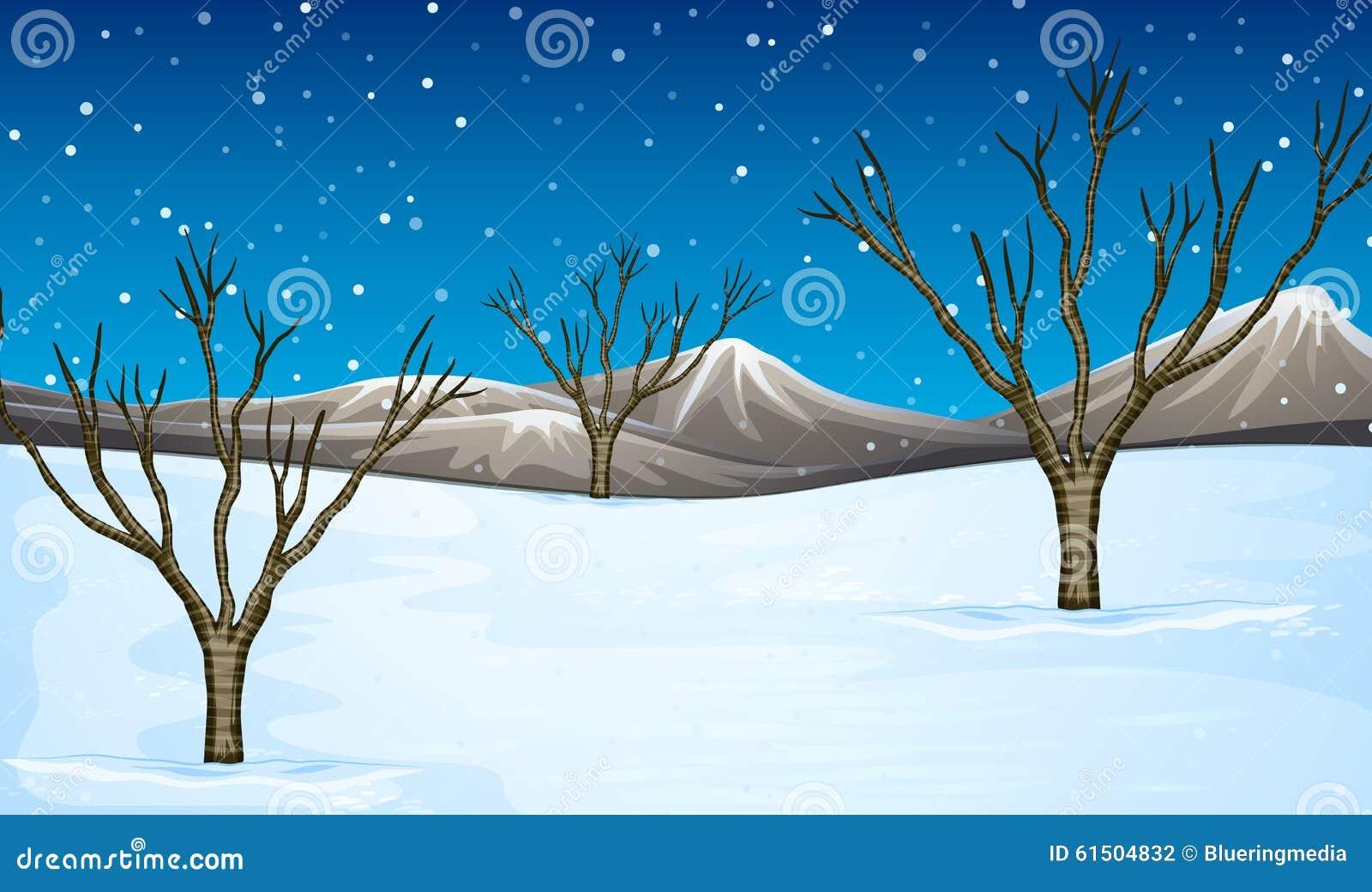 Fält som täckas med snö