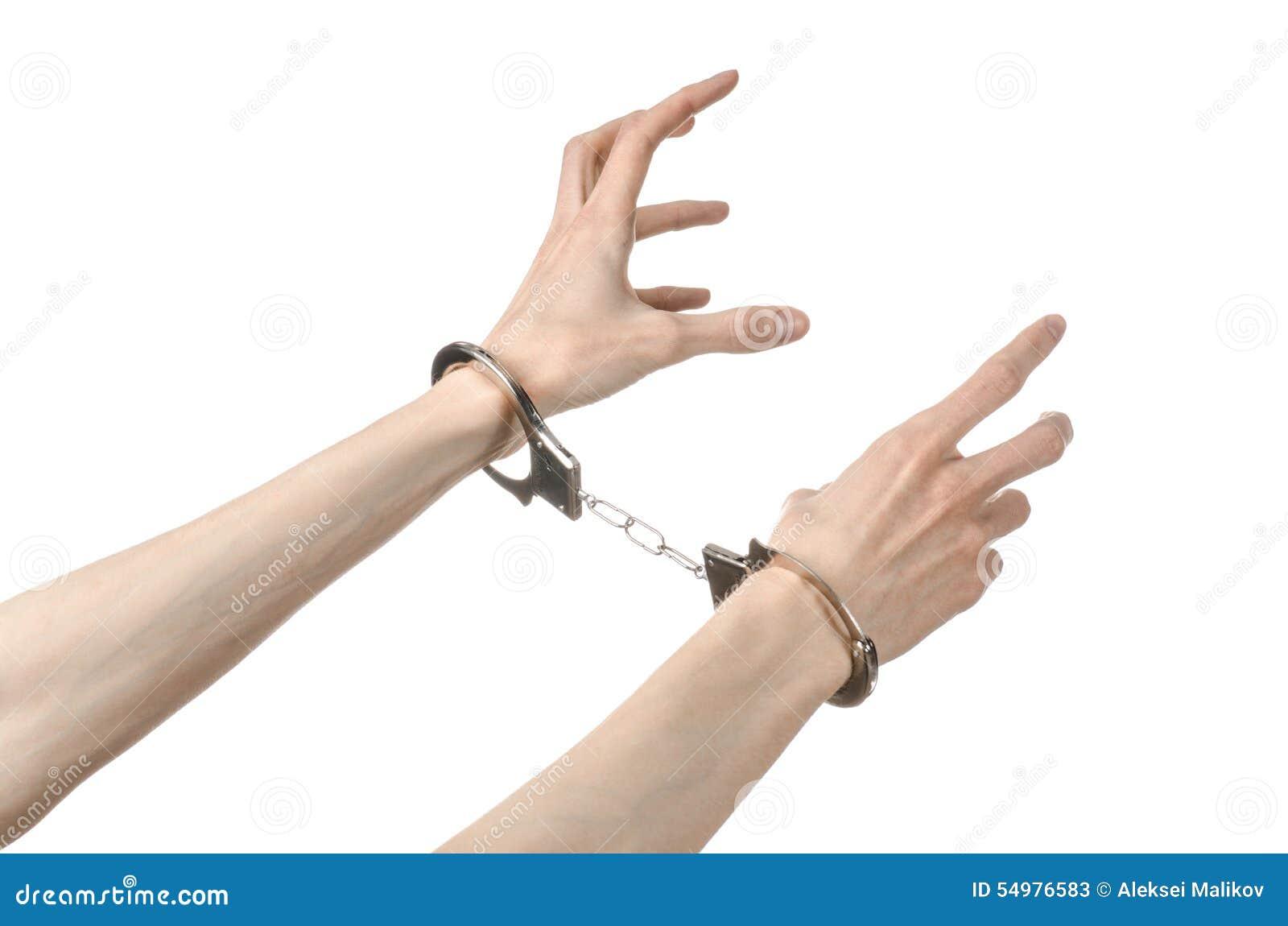 Fängelse och beslagit ämne: manhänder med handbojor som isoleras på