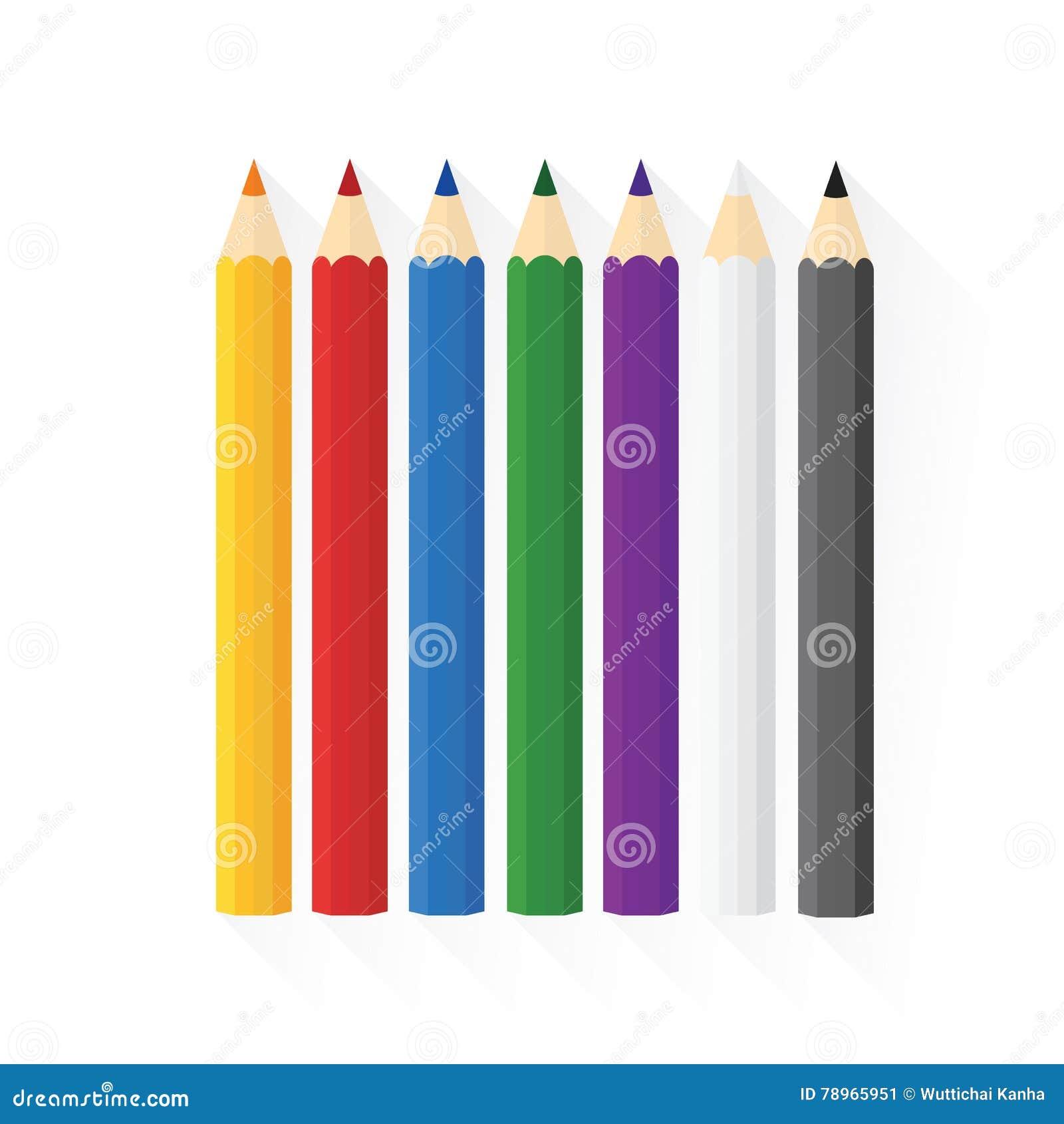 Färben Sie das hölzerne Bleistiftkonzept, das vorbei in Reihen gerade sortiert wird