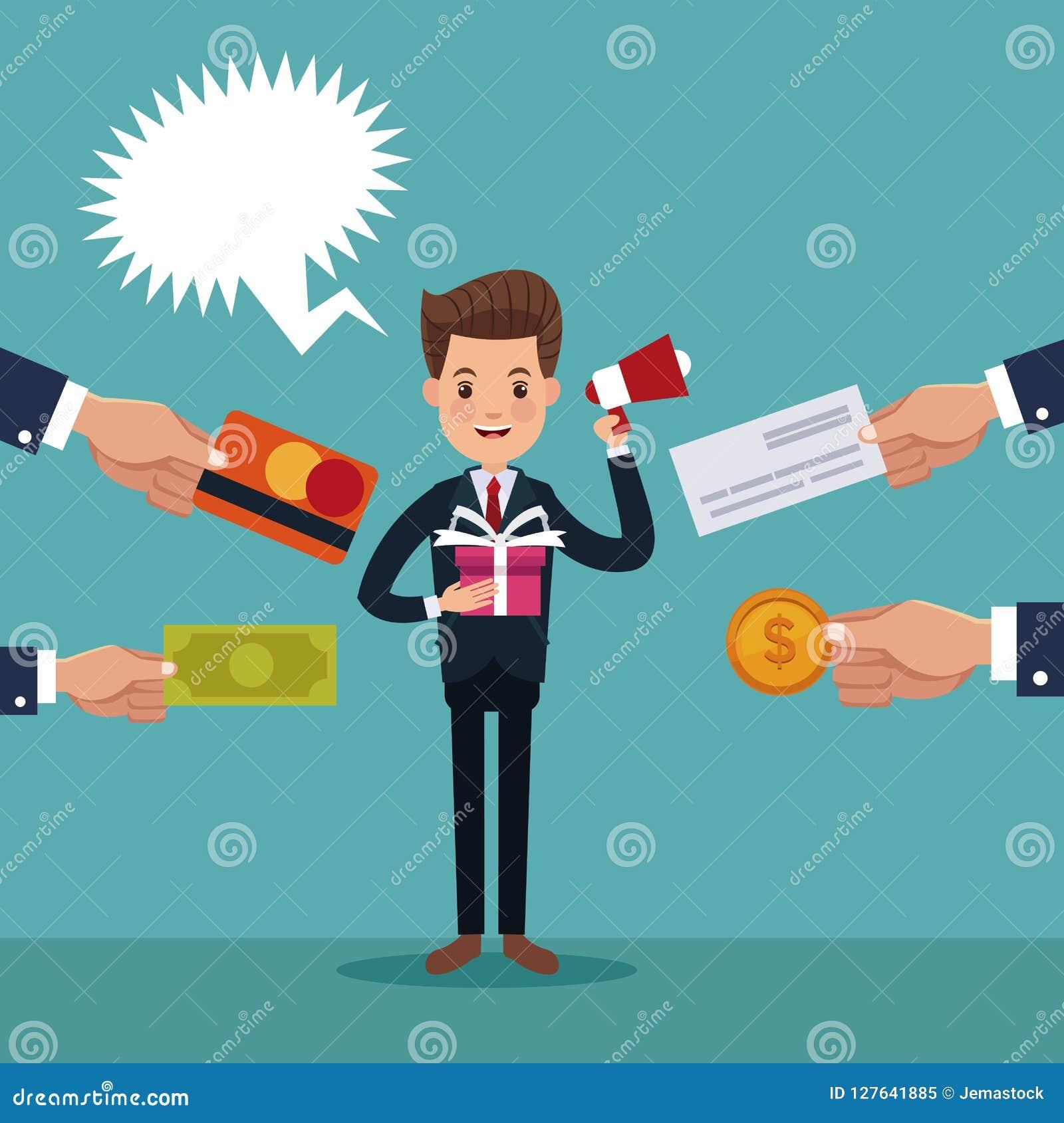 Färben Sie Hintergrund des Exekutivmannes mit dem Geschenk und Megaphon und Hände, die eine Einzelteilzahlung halten