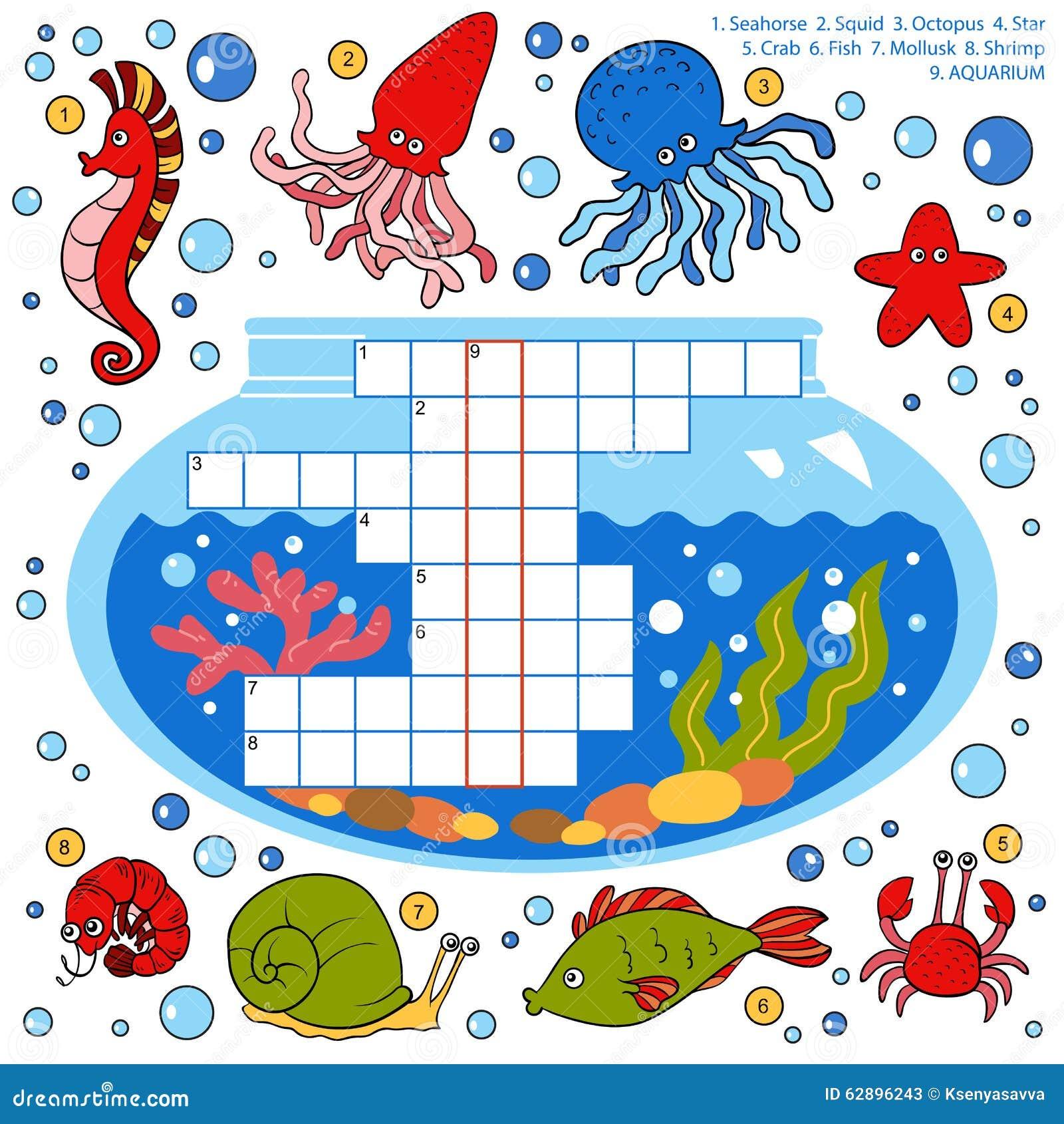 Färben Sie Kreuzworträtsel, Bildungsspiel Für Kinder über Fische ...