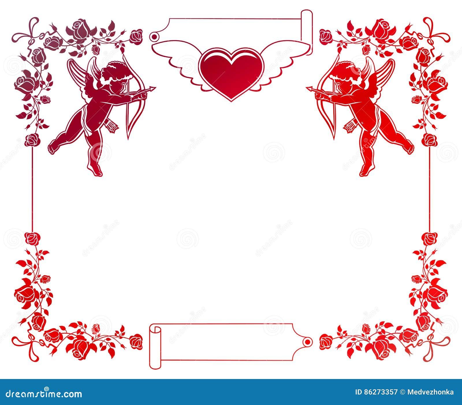 Färben Sie Steigungsrahmen Mit Amor, Rosen Und Herzen Kopieren Sie ...