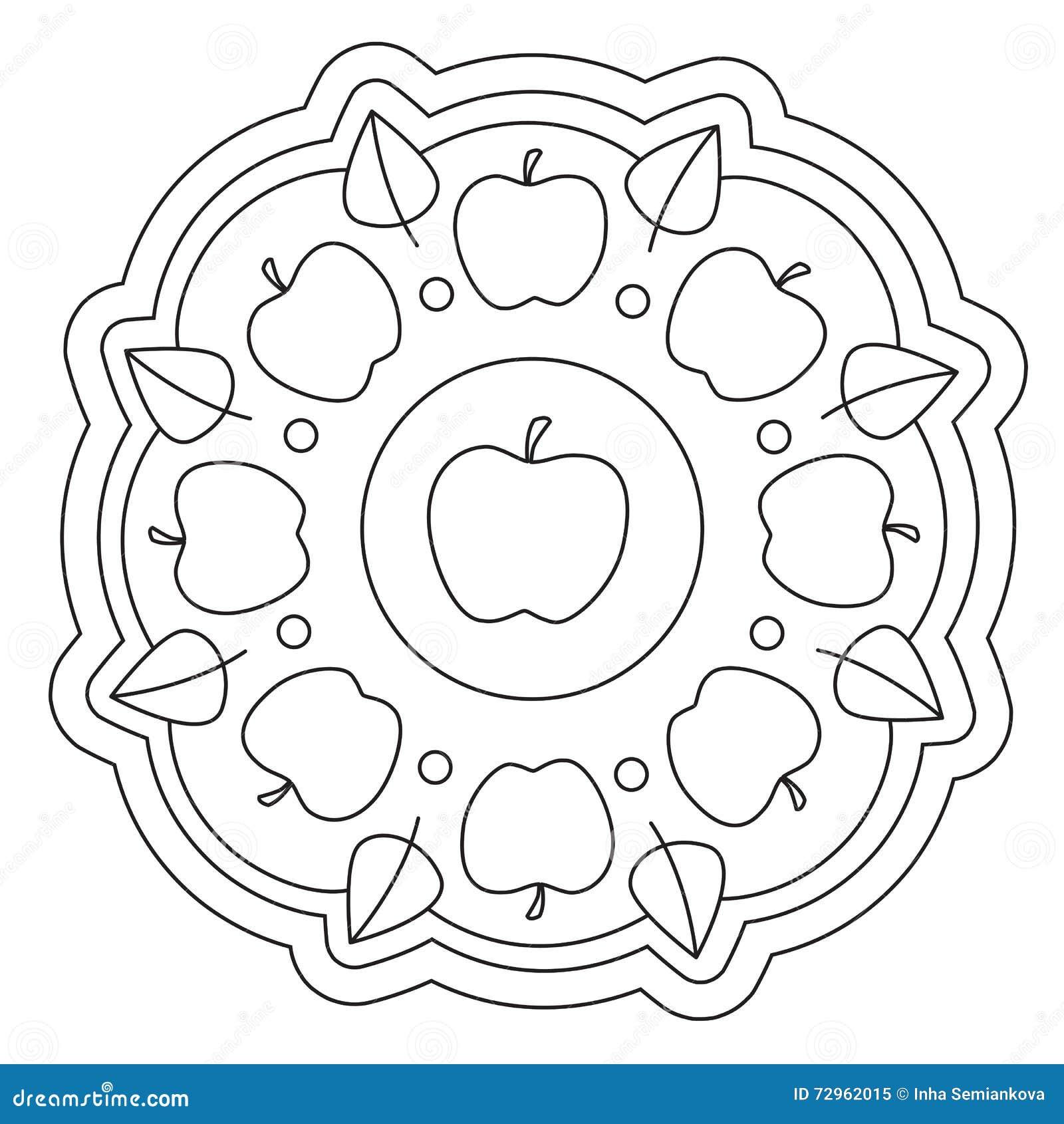 Färbende Einfache Apple-Mandala Vektor Abbildung ...