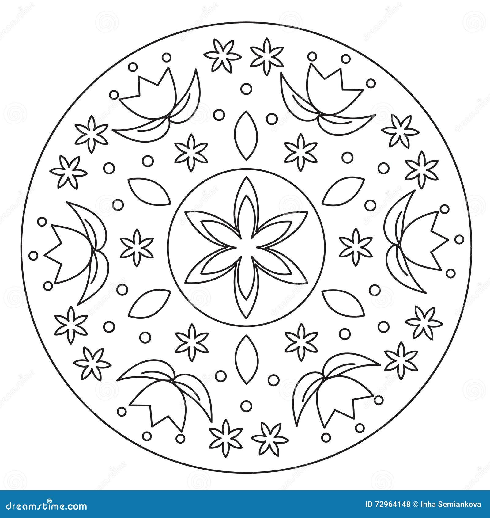Färbende Einfache Blumen-Mandala Vektor Abbildung - Illustration von ...