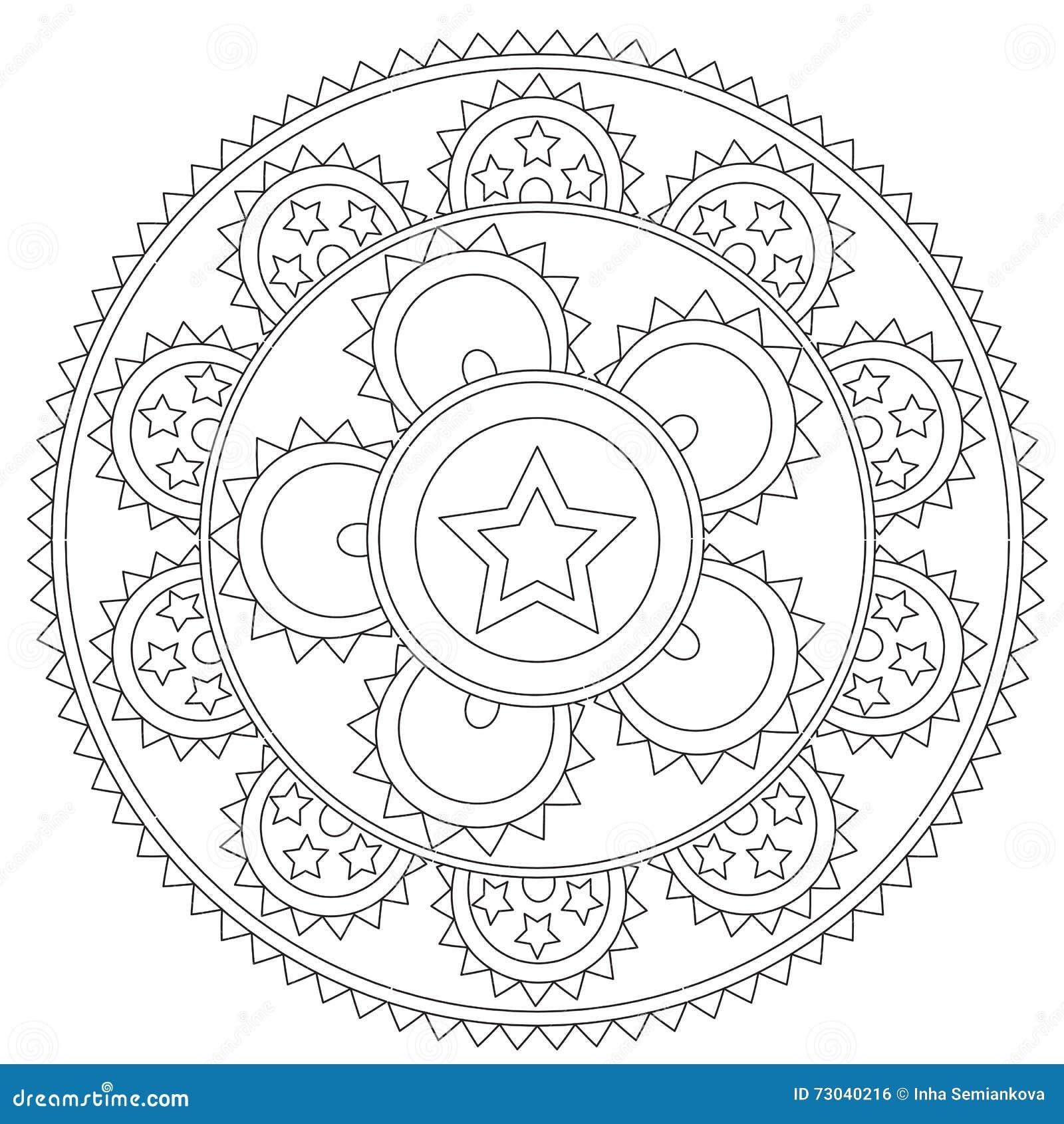 Färbende Schwarze Stern-Mandala Vektor Abbildung - Illustration von ...