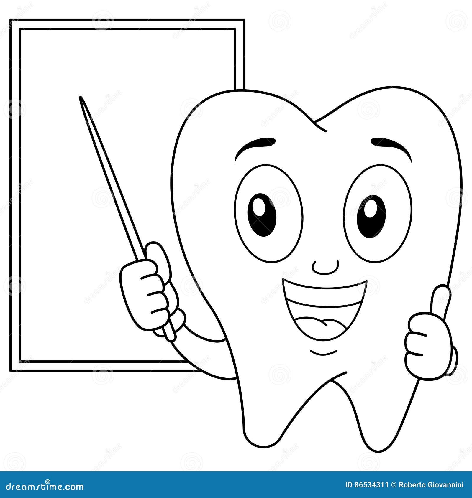 Färbender Glücklicher Zahn-Charakter Und Brett Vektor Abbildung ...