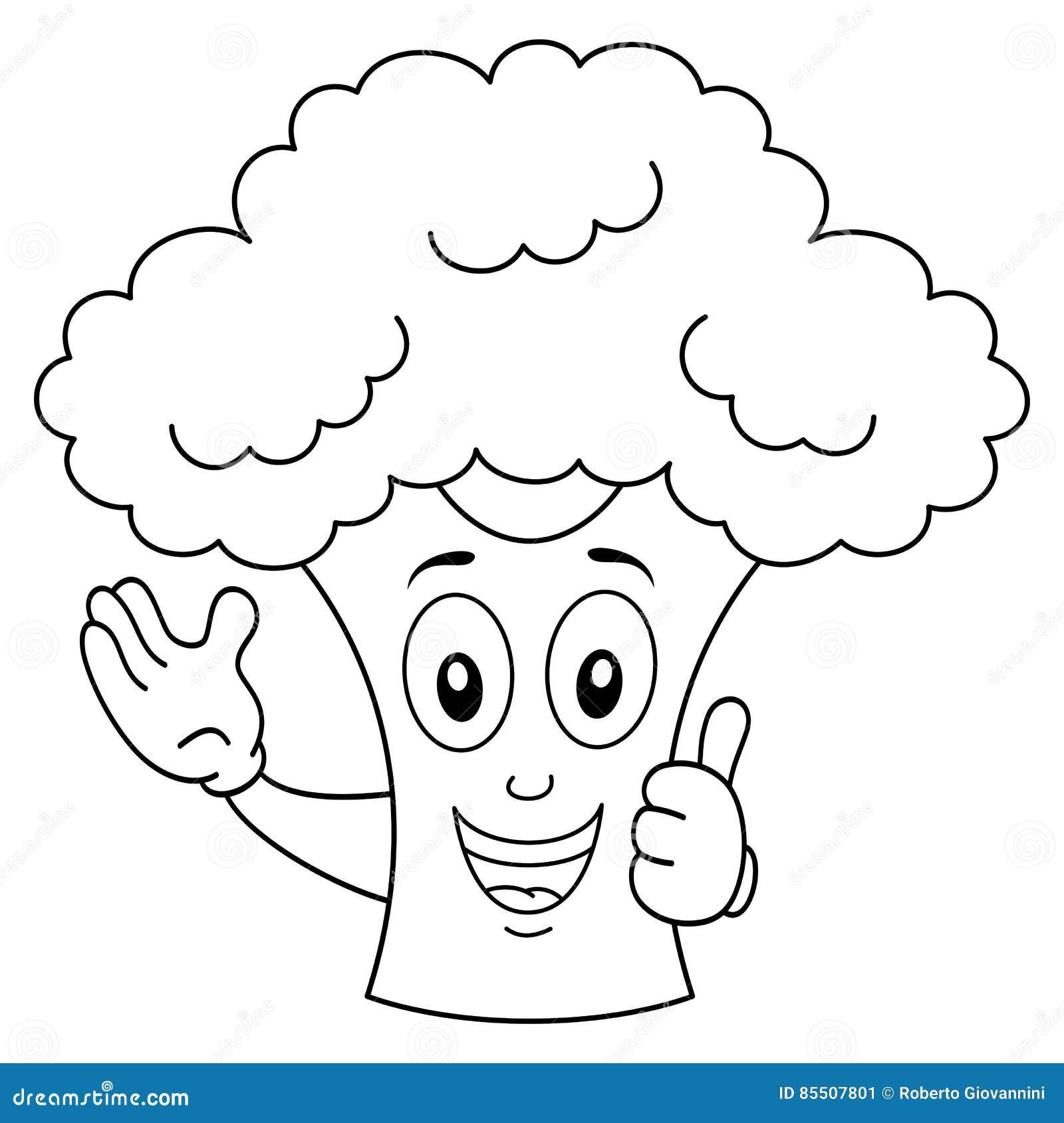 Färbungslächelnde Brokkoli-Zeichentrickfilm-Figur