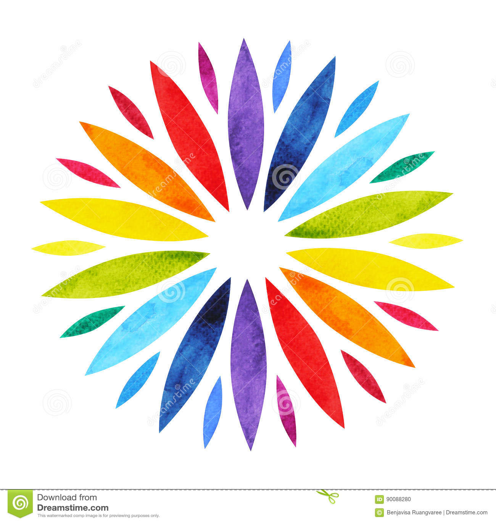 Färg 7 av begreppet för chakramandalasymbolet, blommar blom-, vattenfärgmålning