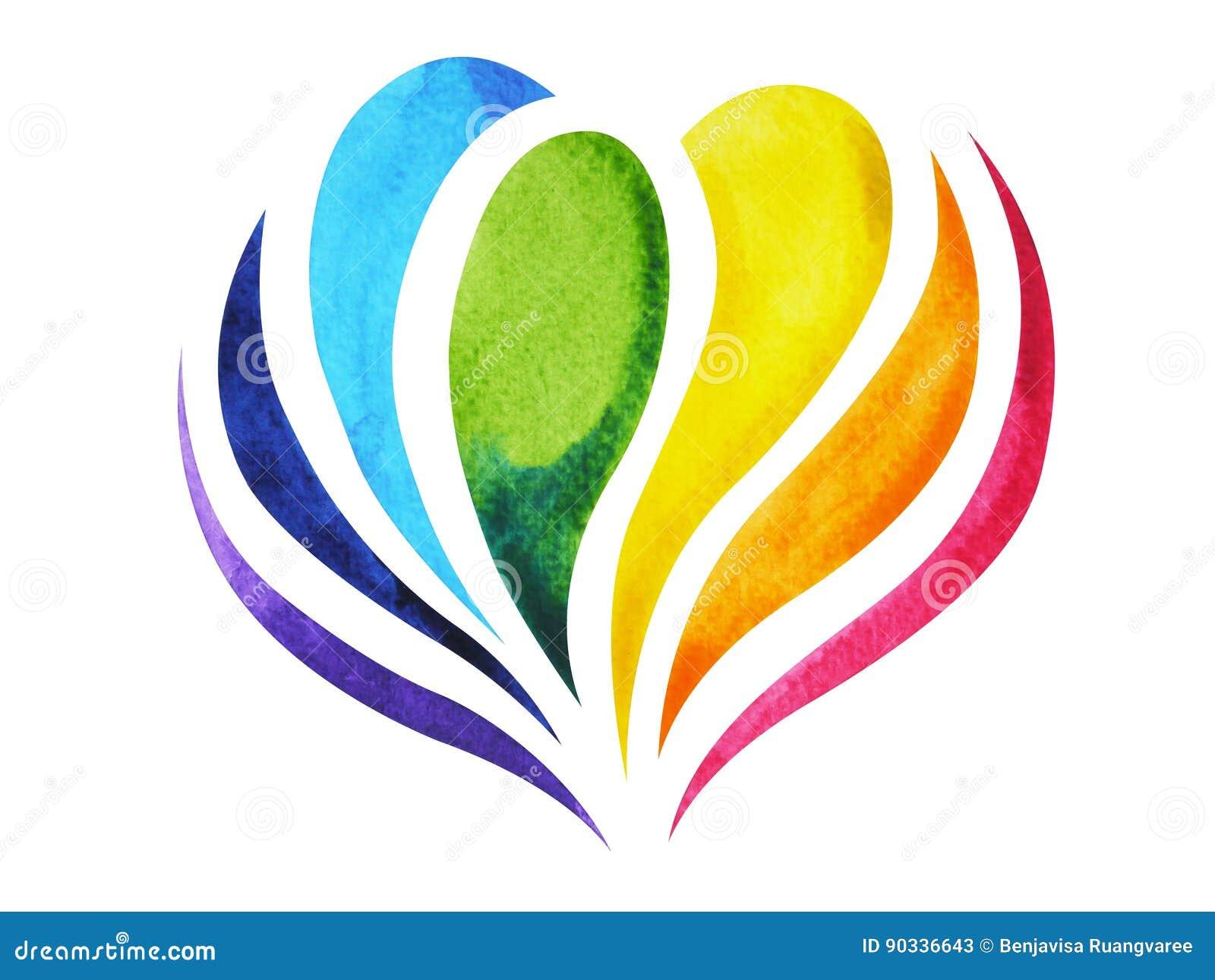 Färg 7 av chakrateckensymbolet, färgrik lotusblommablomma, dragen vattenfärgmålninghand, illustrationdesign
