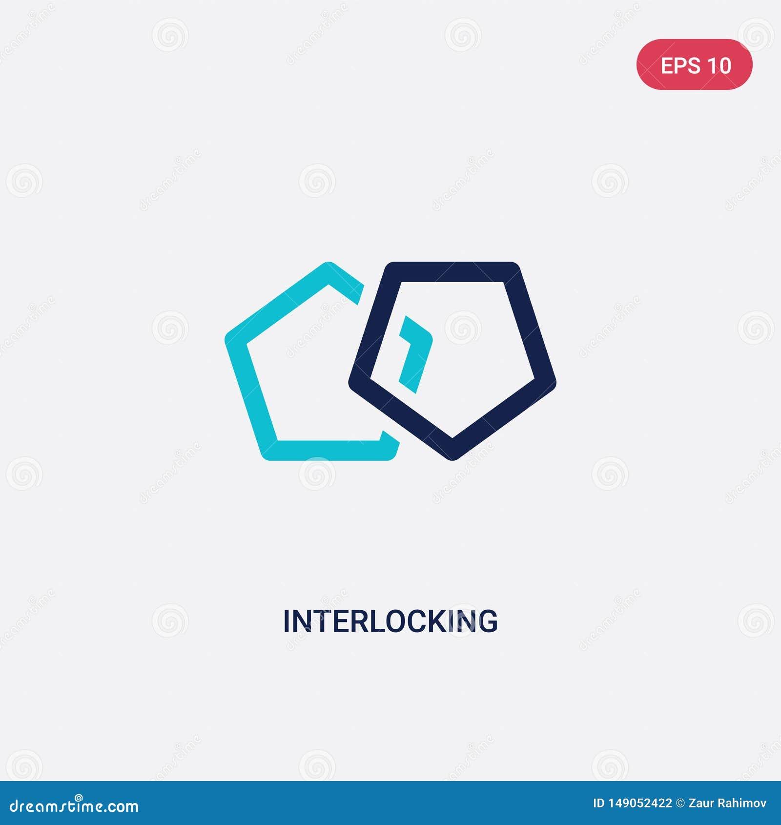 Färg som två gripa in i varandra vektorsymbolen från analyticsbegrepp det isolerade blåa gripa in i varandra vektorteckensymbolet